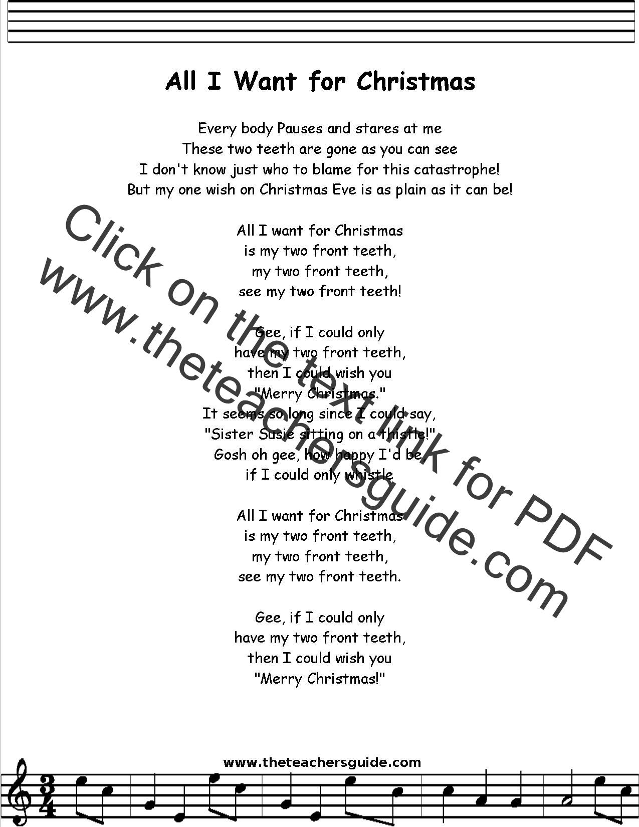 All I Want For Christmas Lyrics Printout Midi And Video