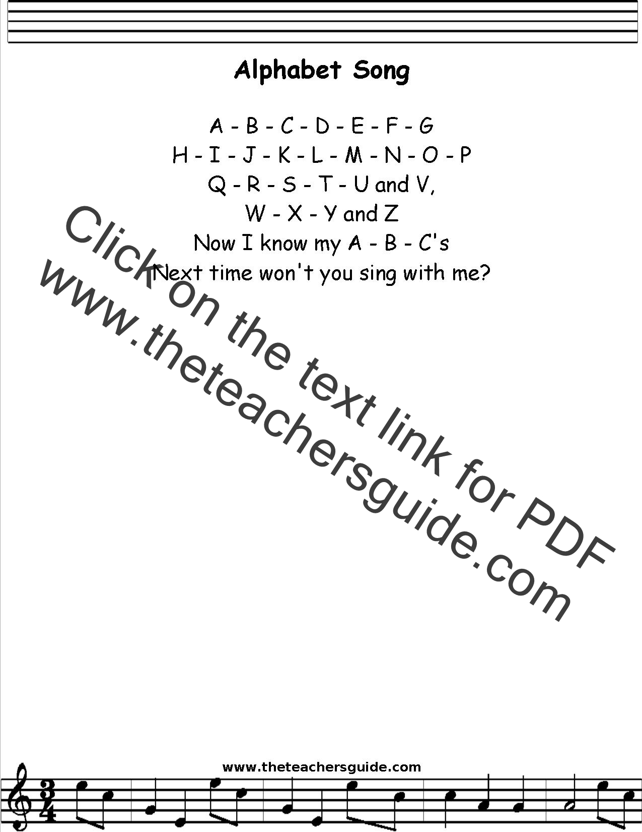 Alphabet Song Lyrics Printout Midi And Video