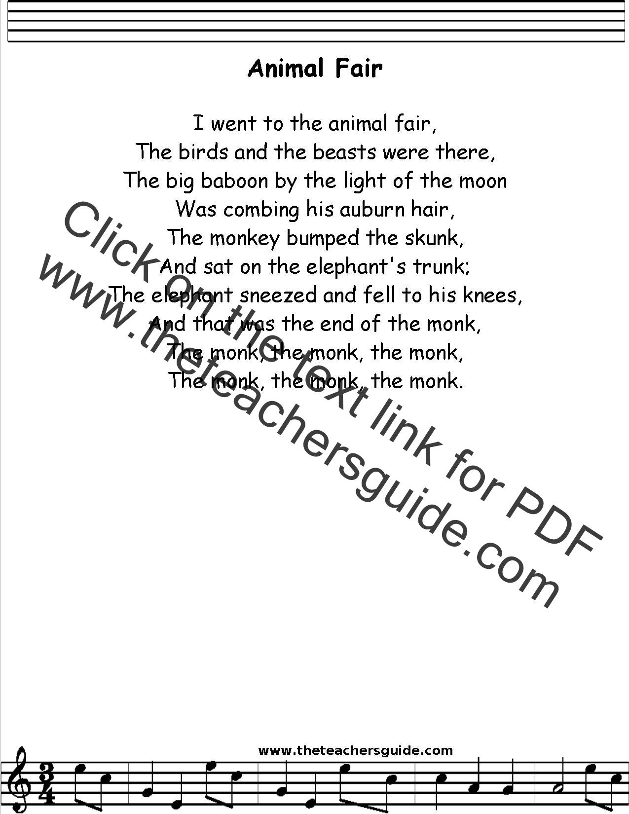 Animal Fair Lyrics Printout Midi And Video
