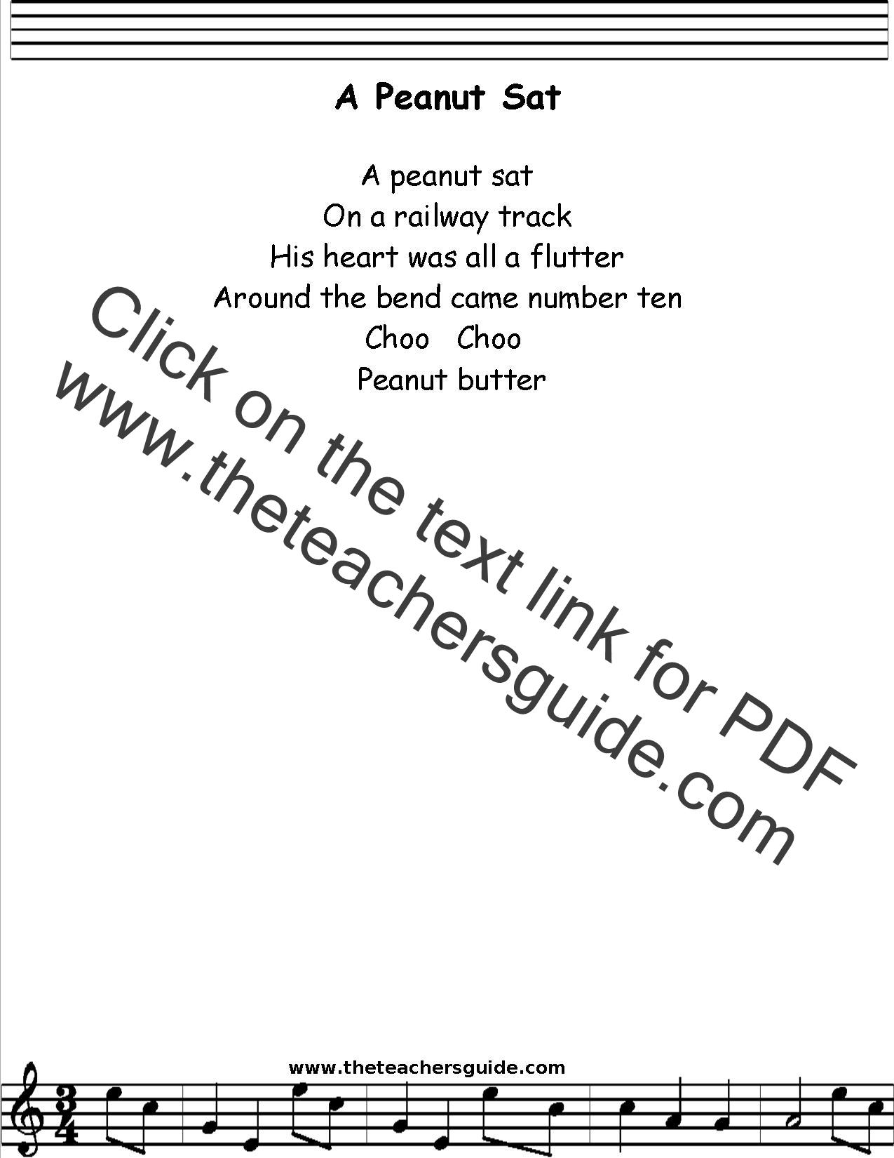 A Peanut Sat Lyrics Printout Midi And Video