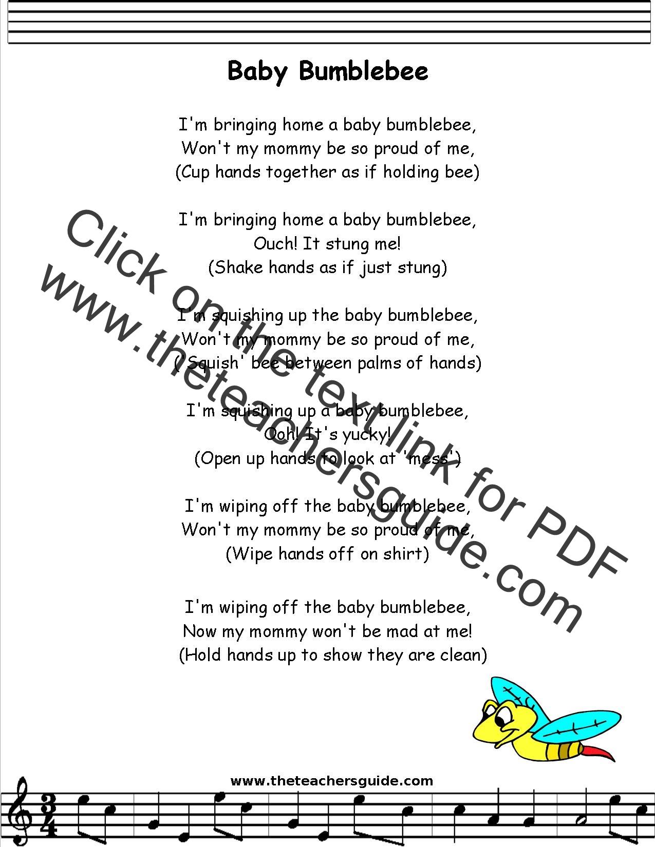 Baby Bumblebee Lyrics Printout Midi And Video