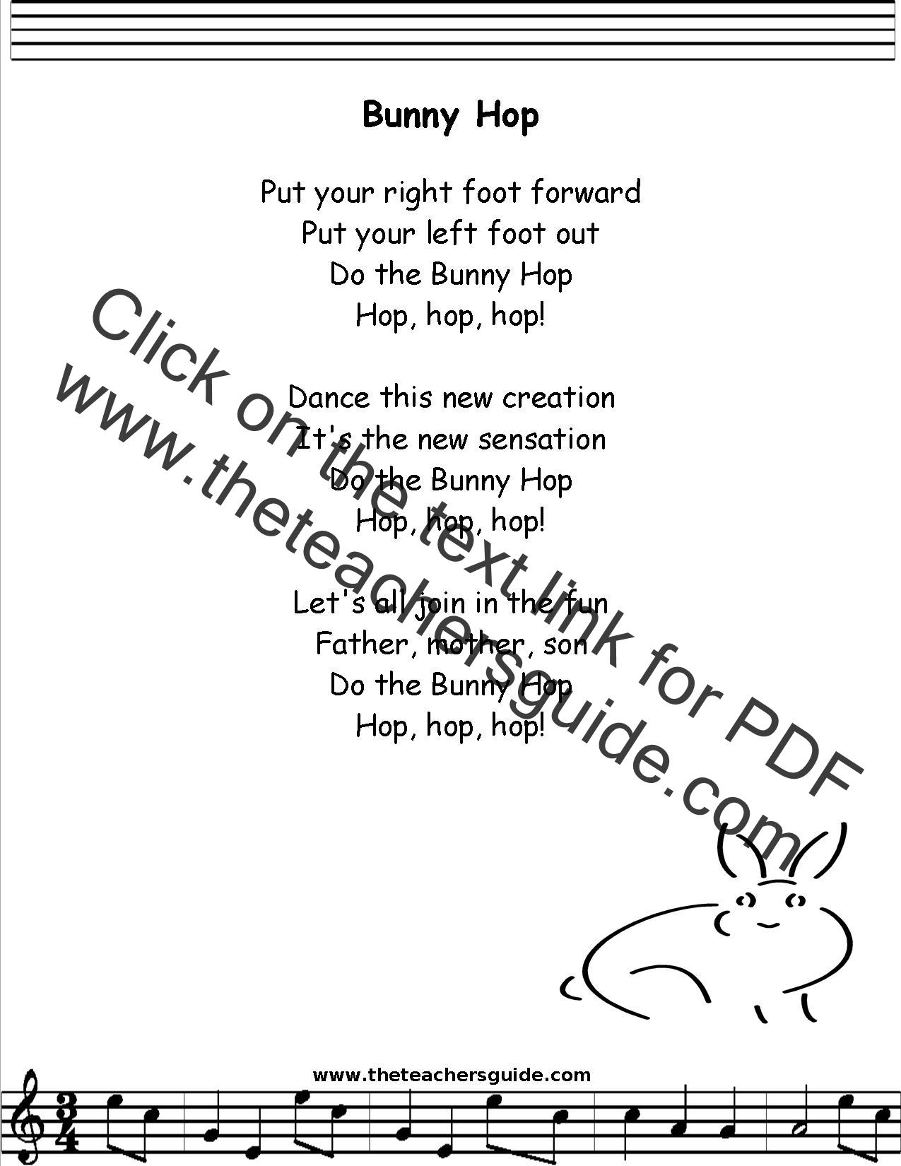 Bunny Hop Lyrics Printout Midi And Video
