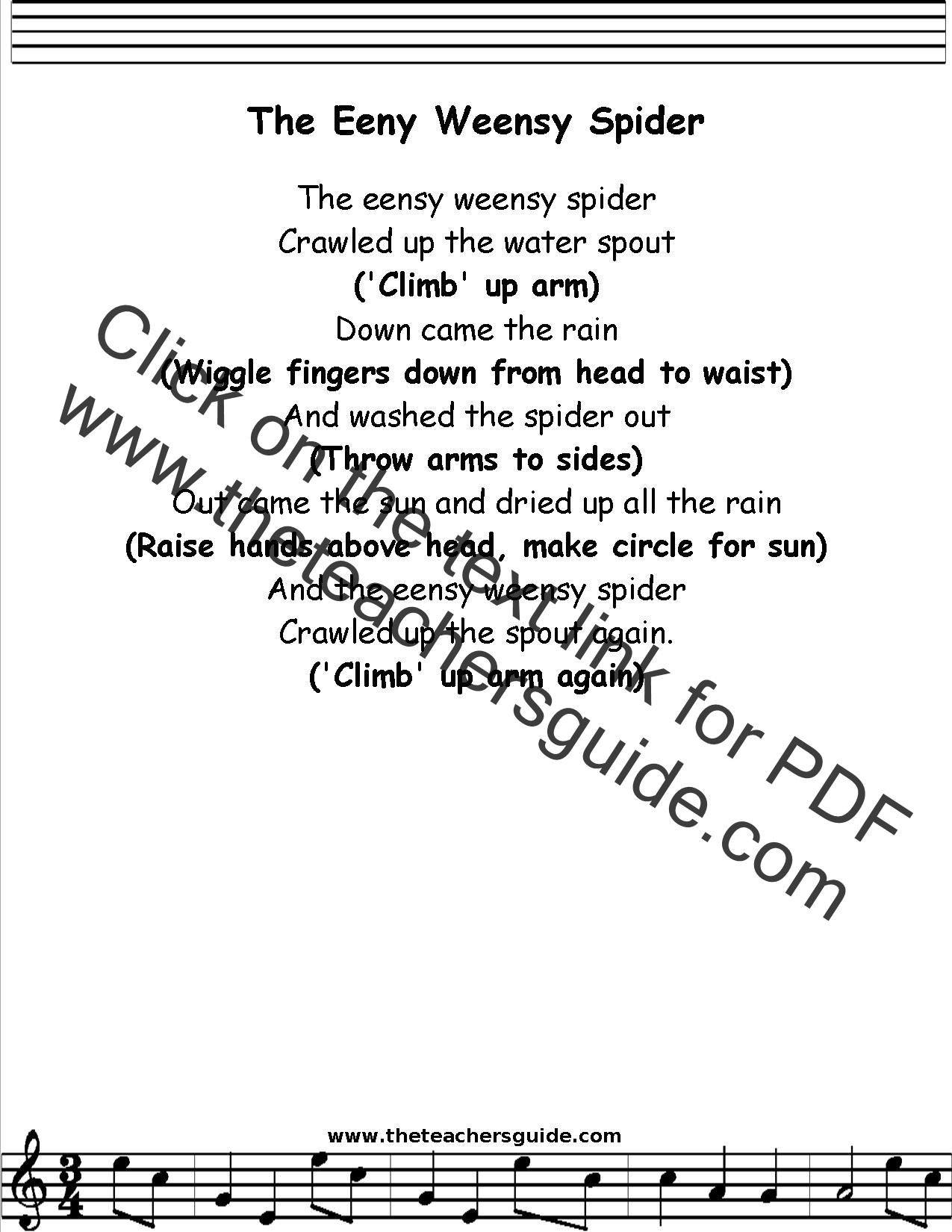 Eensy Weensy Spider Lyrics Printout Midi And Video