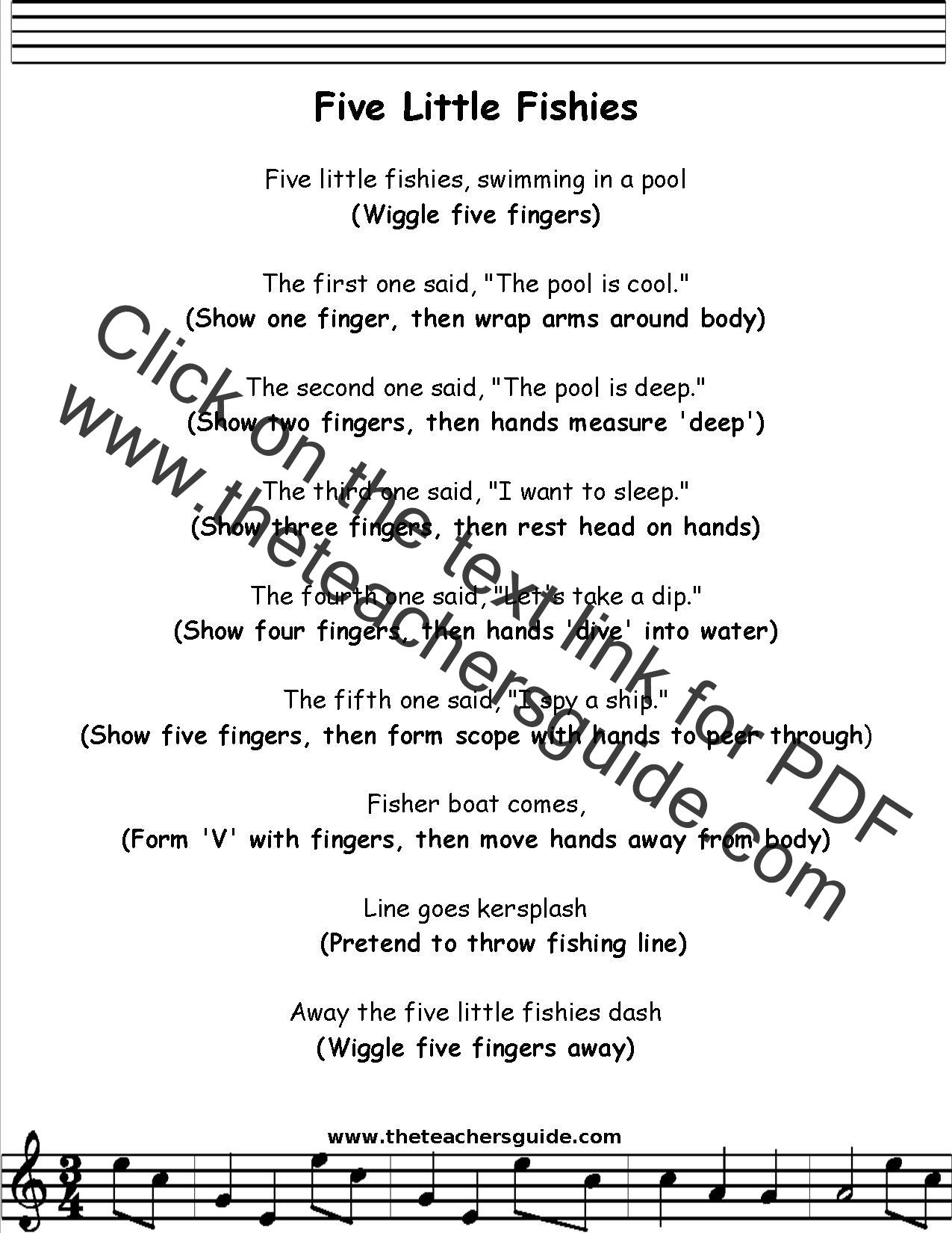 Five Little Fishies Lyrics Printout Midi And Video
