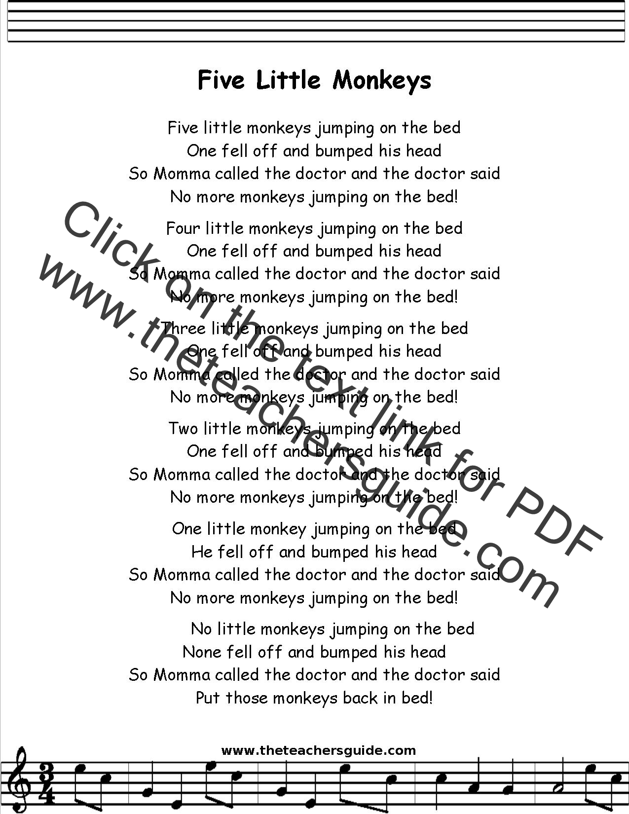 Five Little Monkeys Lyrics Printout Midi And Video