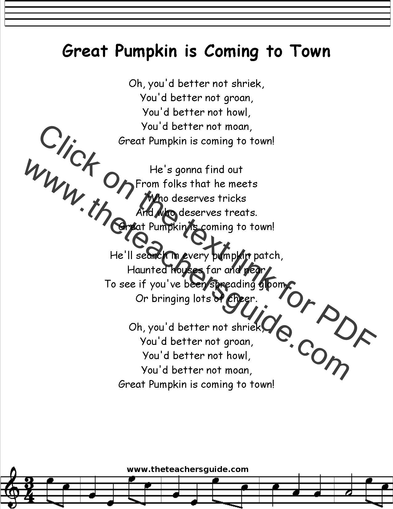 Great Pumpkin Lyrics Printout Midi And Video