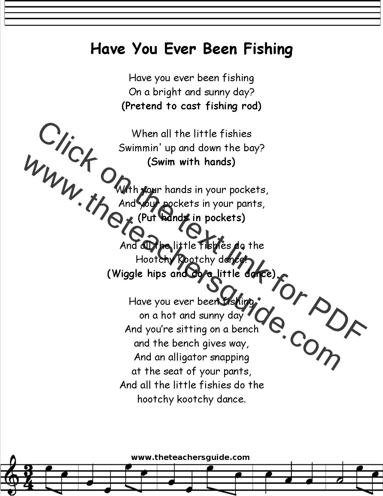 Have You Ever Been Fishing Lyrics Printout Midi And Video