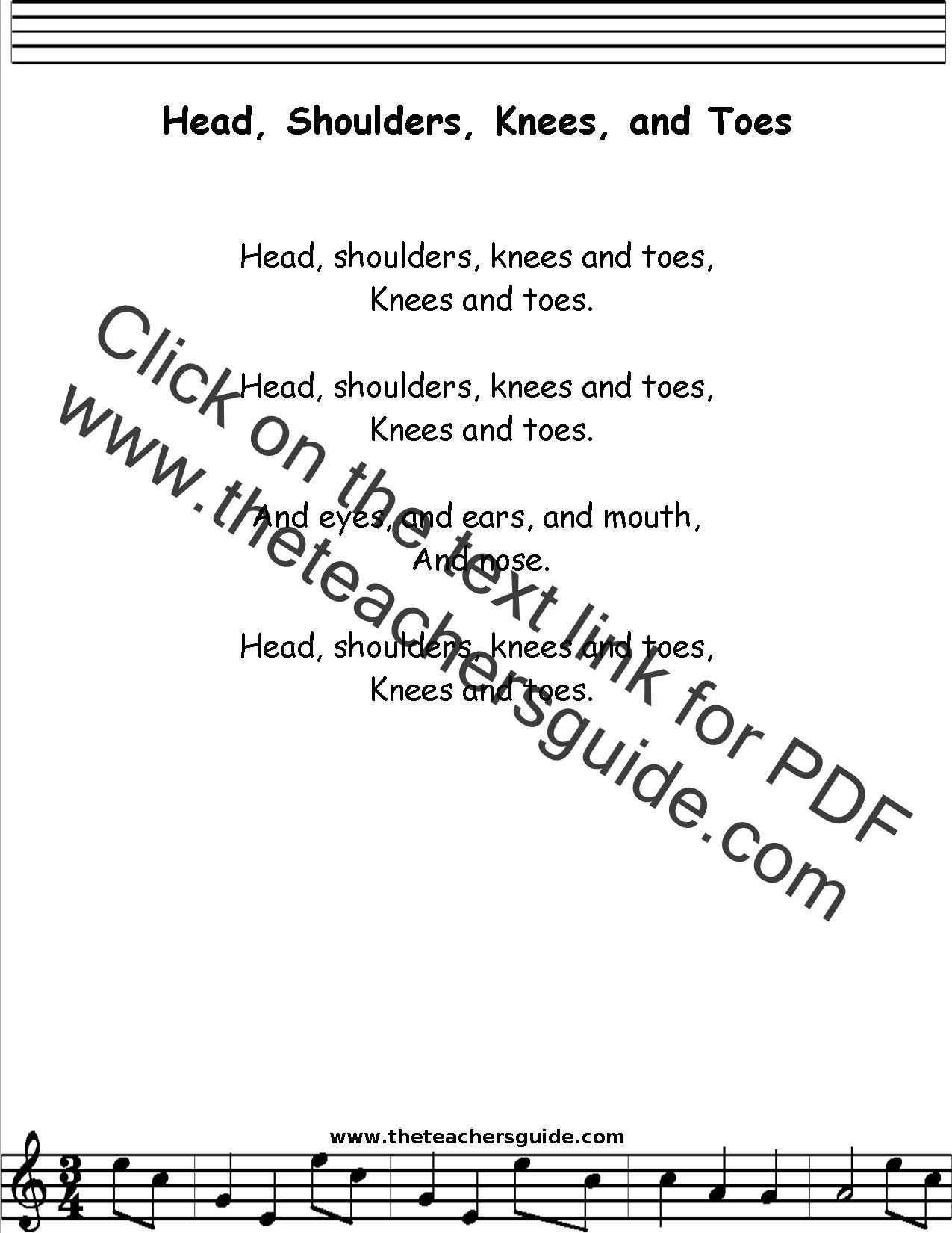 Head Shoulders Knees And Toes Lyrics Printout Midi