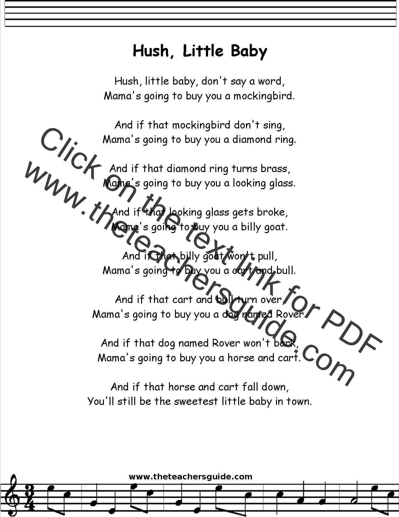 Hush Little Baby Lyrics Printout Midi And Video