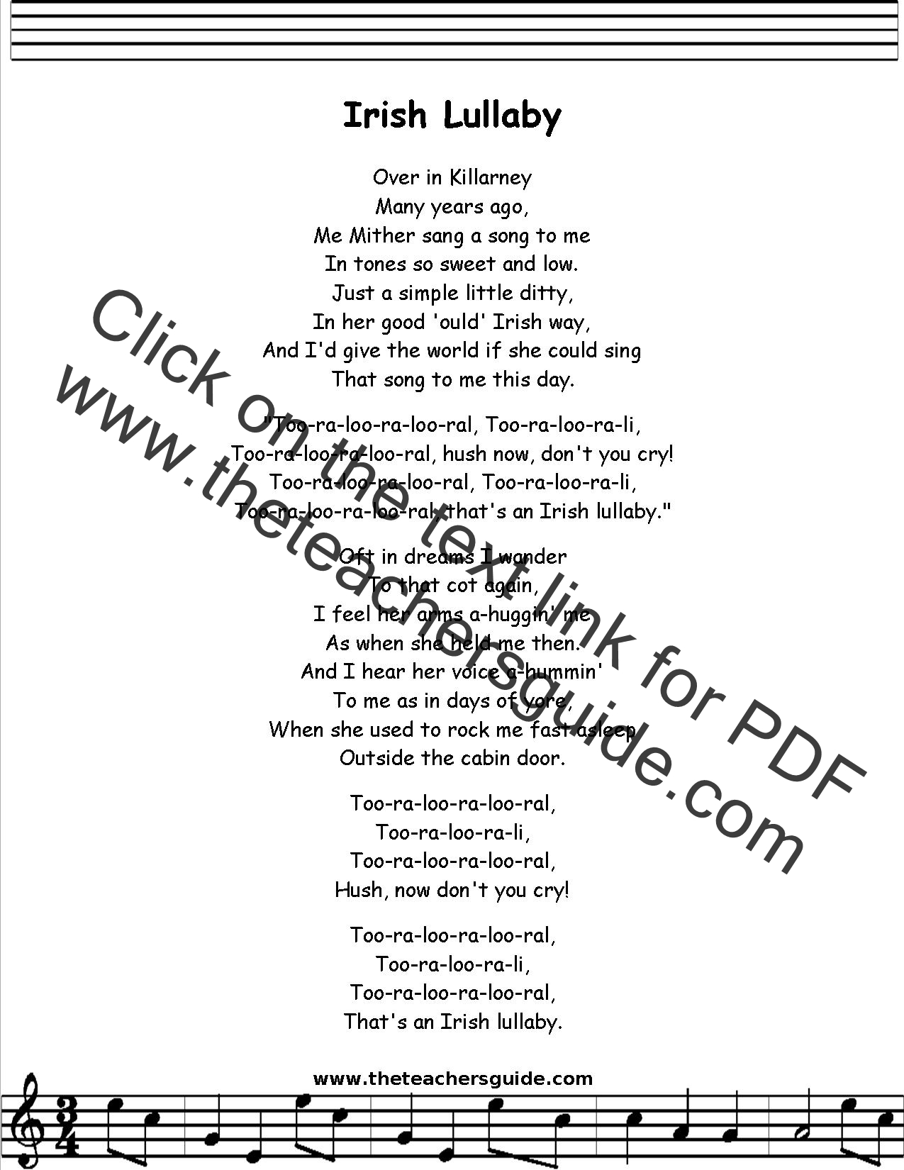 Irish Lullaby Lyrics Printout Midi And Video