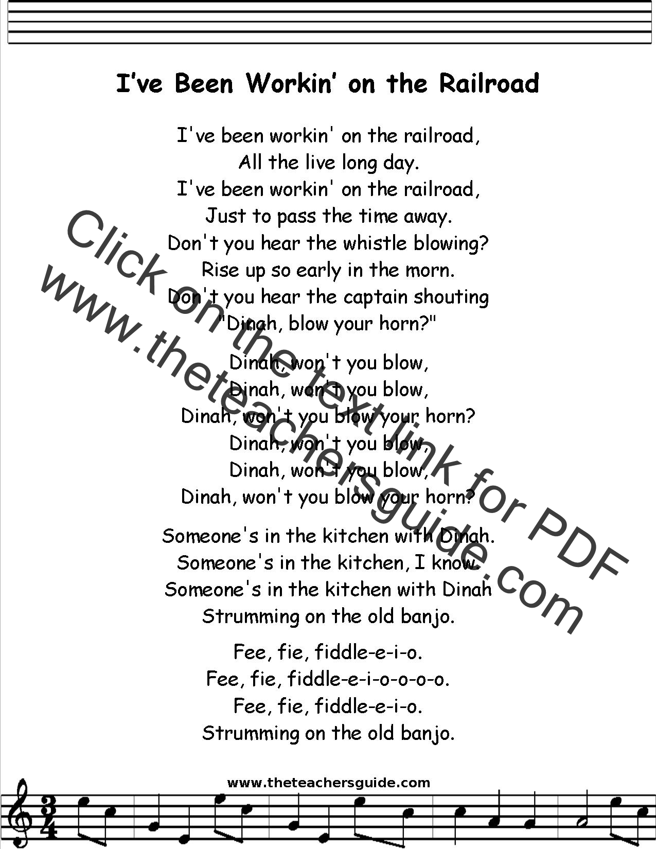 I Ve Been Working On The Railroad Lyrics Printout Midi