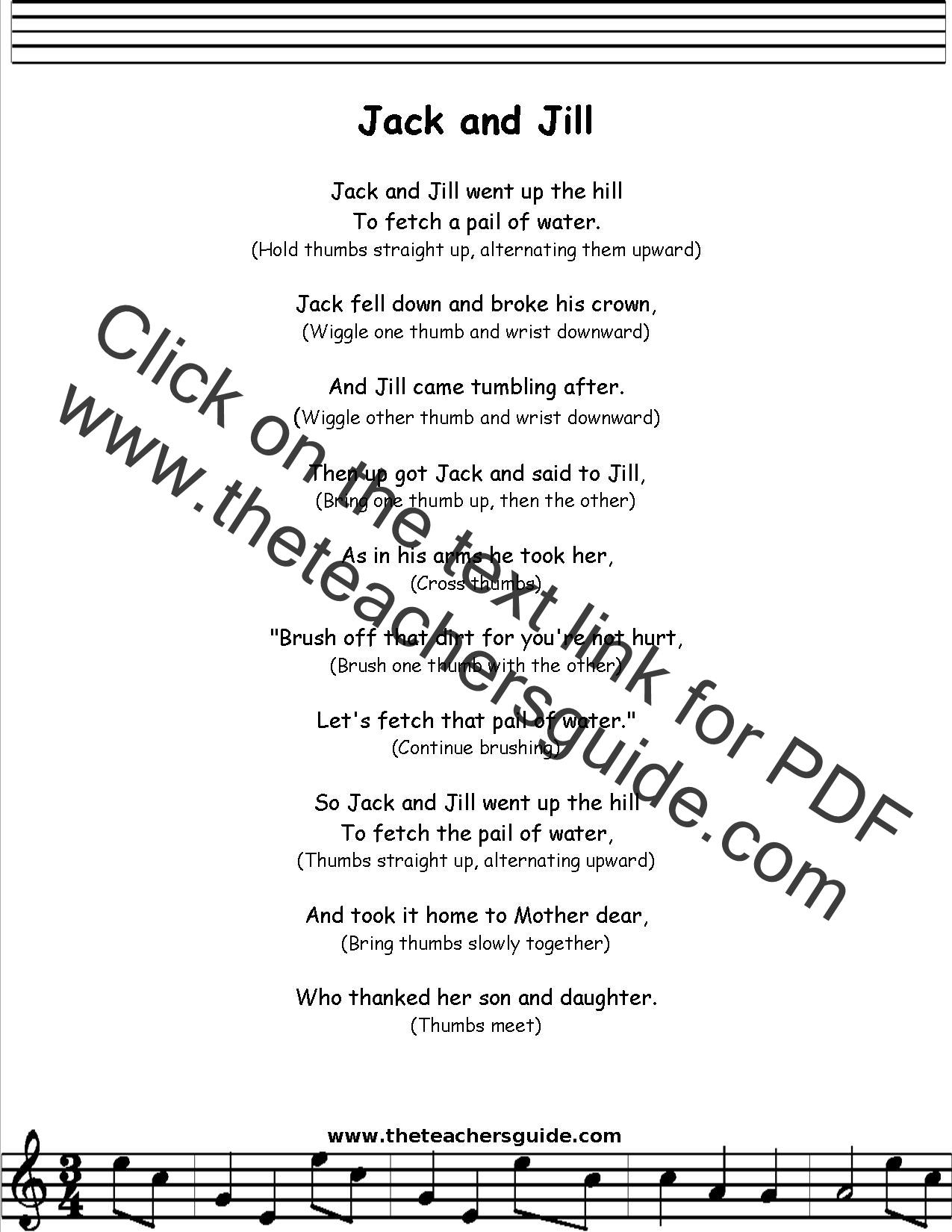 Jack And Jill Lyrics Printout Midi And Video