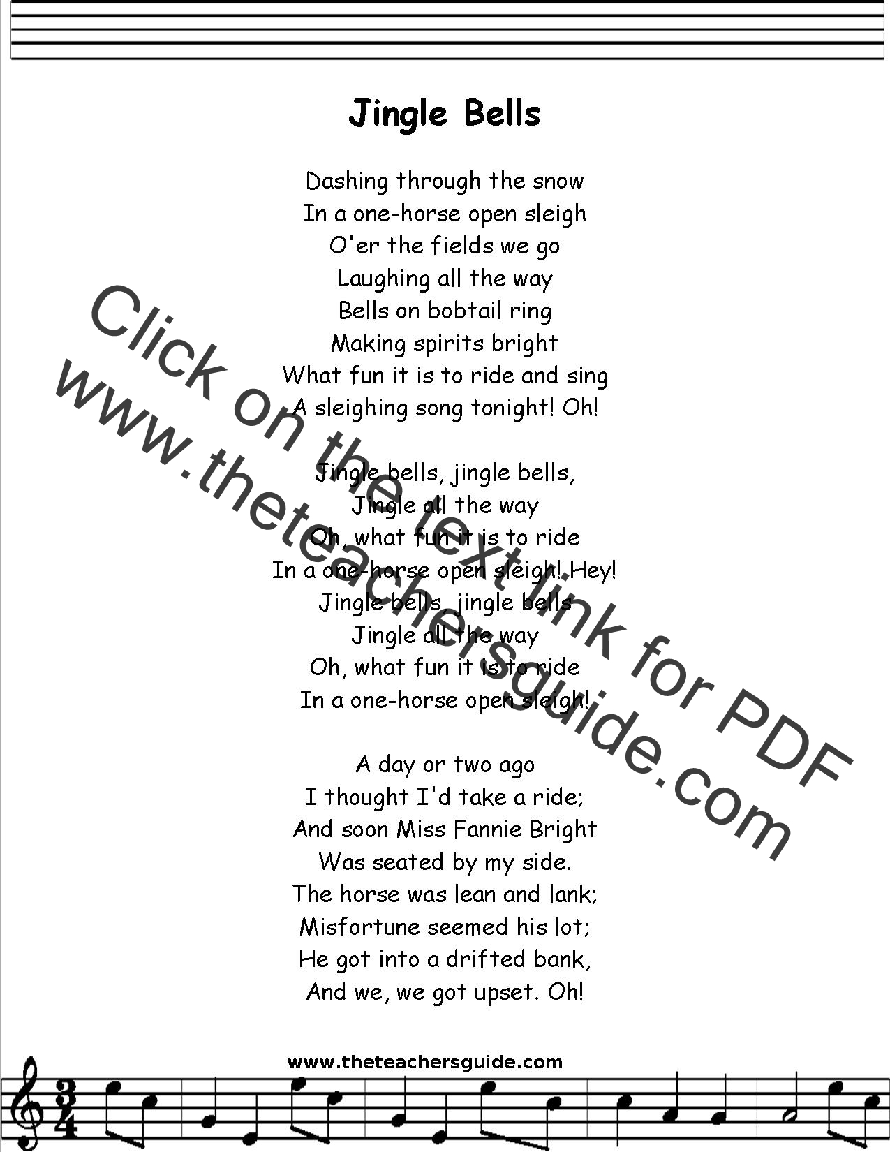 Jingle Bells Lyrics Printout Midi And Video
