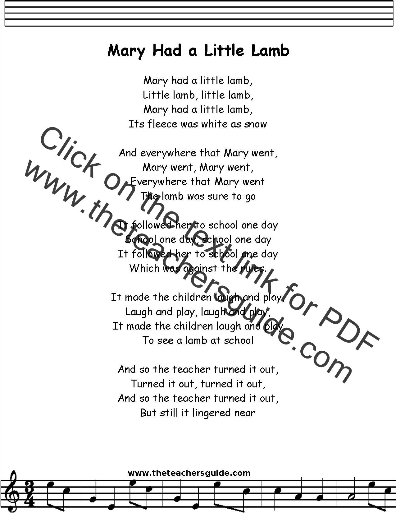 Mary Had A Little Lamb Lyrics Printout Midi And Video