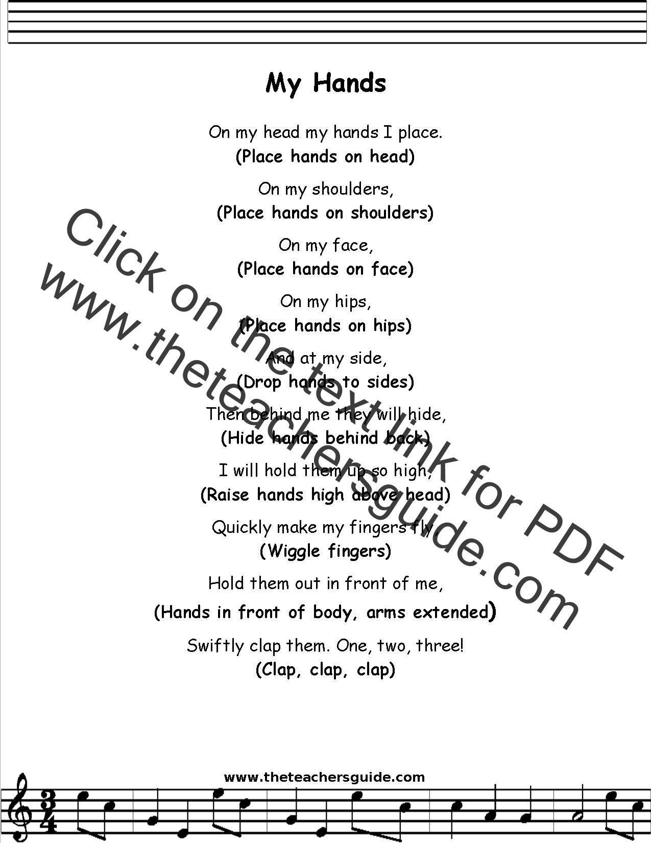 My Hands Lyrics Printout Midi And Video