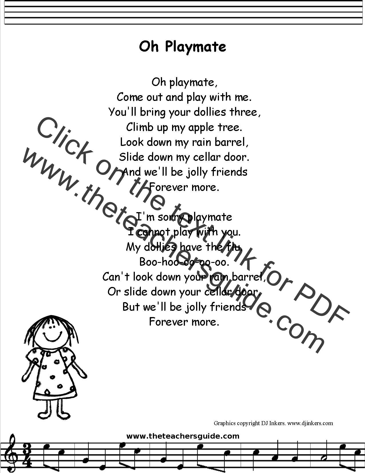 Oh Playmate Lyrics Printout Midi And Video