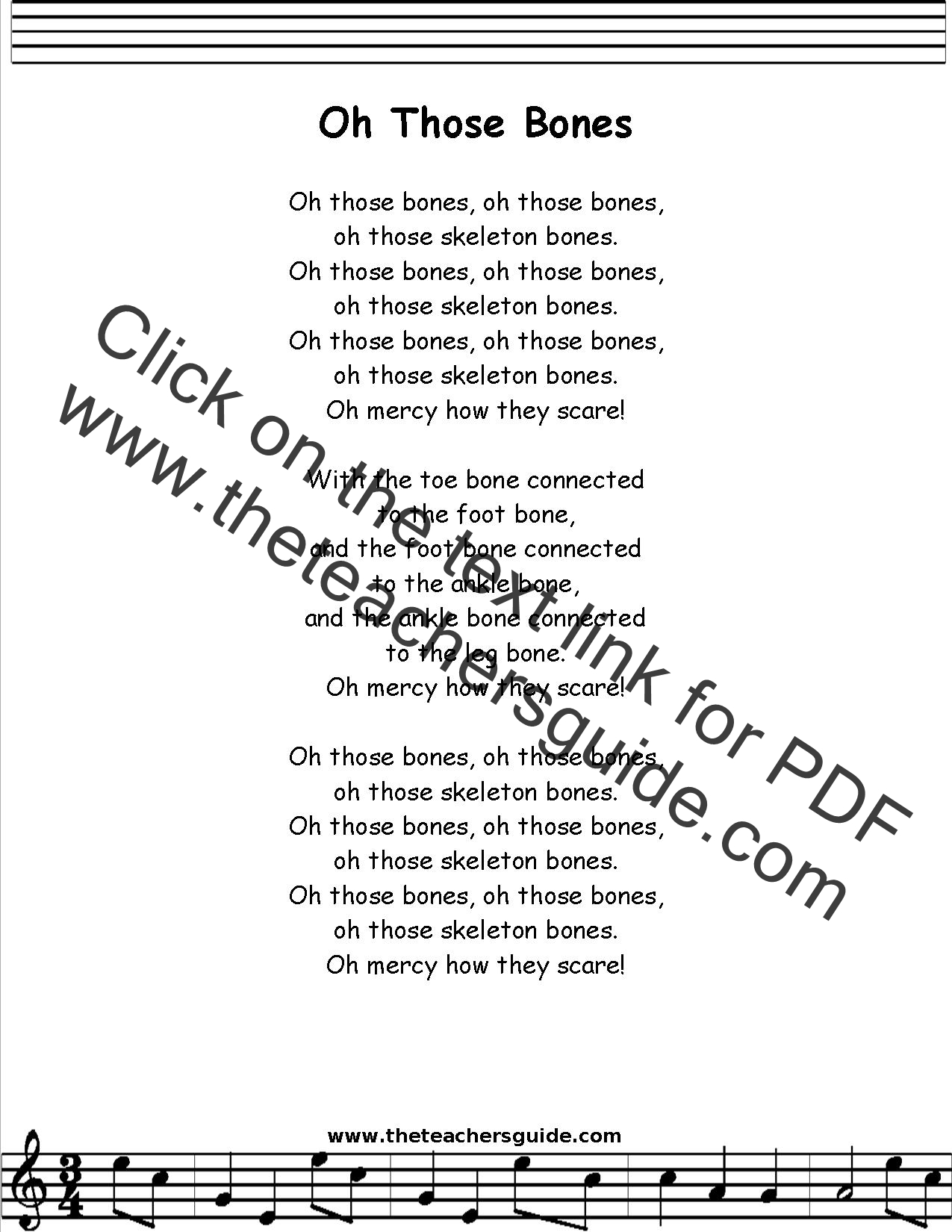 Oh Those Bones Dry Bones Lyrics Printout Midi And Video