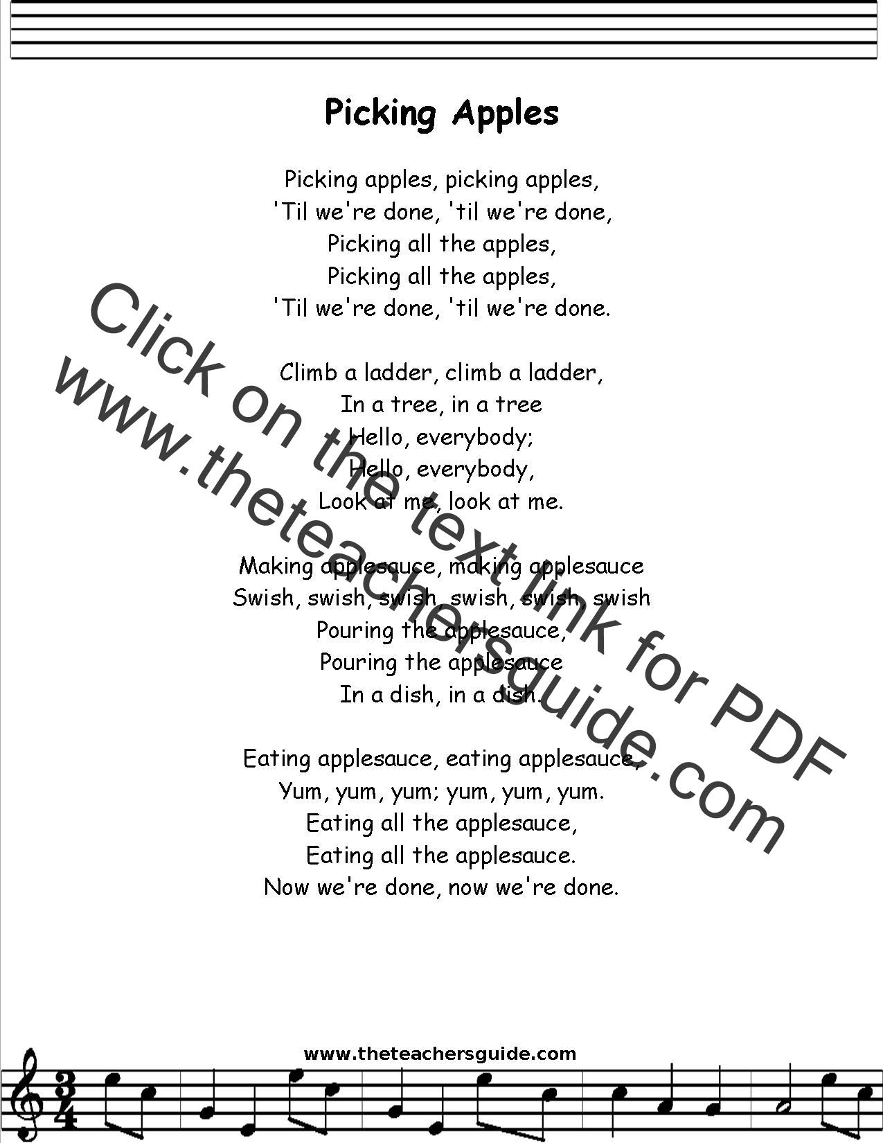 Picking Apples Lyrics Printout Midi And Video
