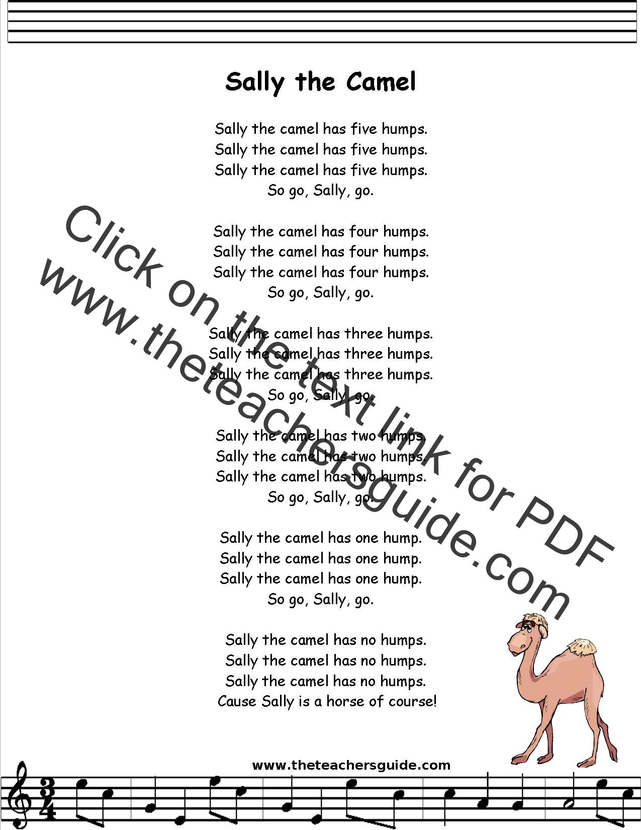 Sally The Camel Lyrics Printout Midi And Video