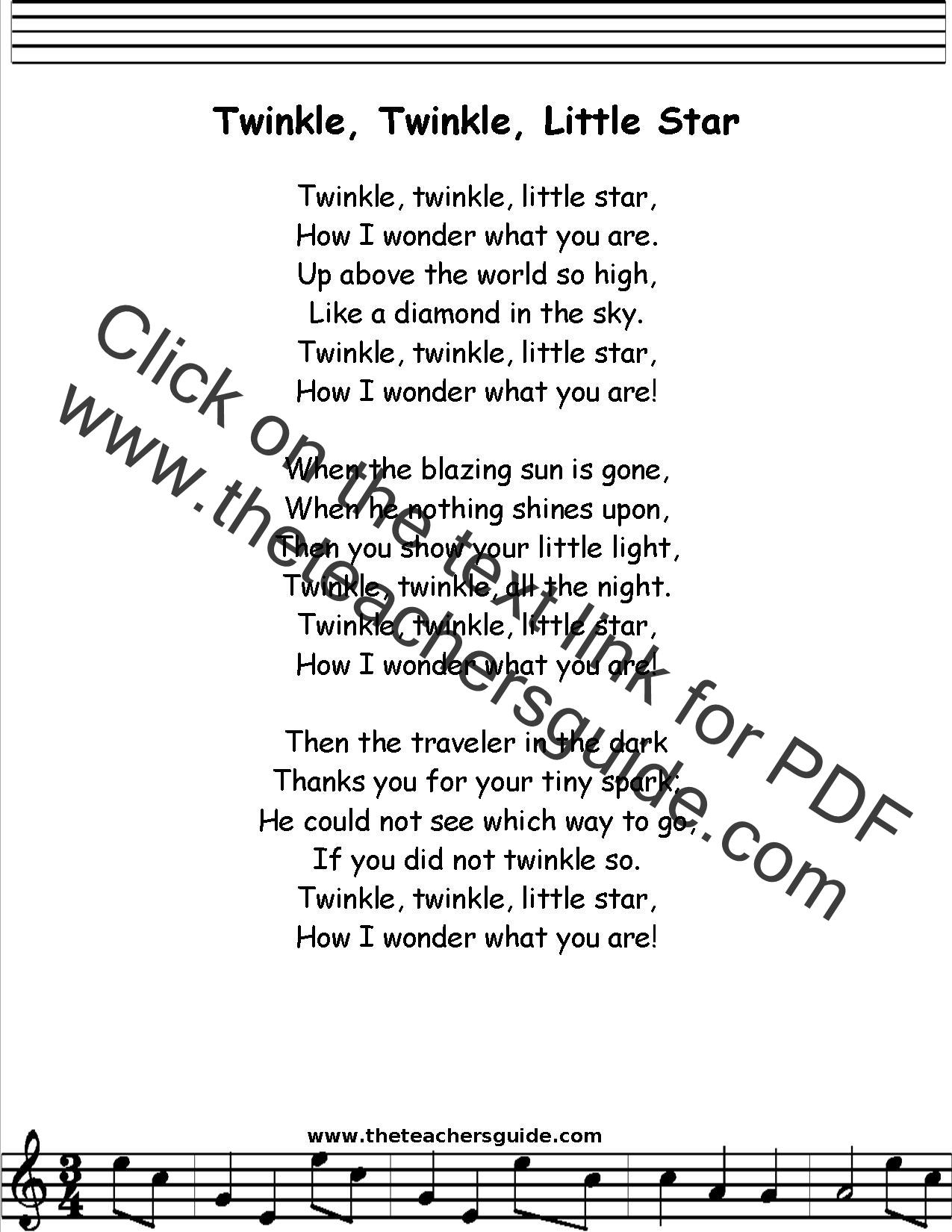 Twinkle Twinkle Little Star Lyrics Printout Midi And