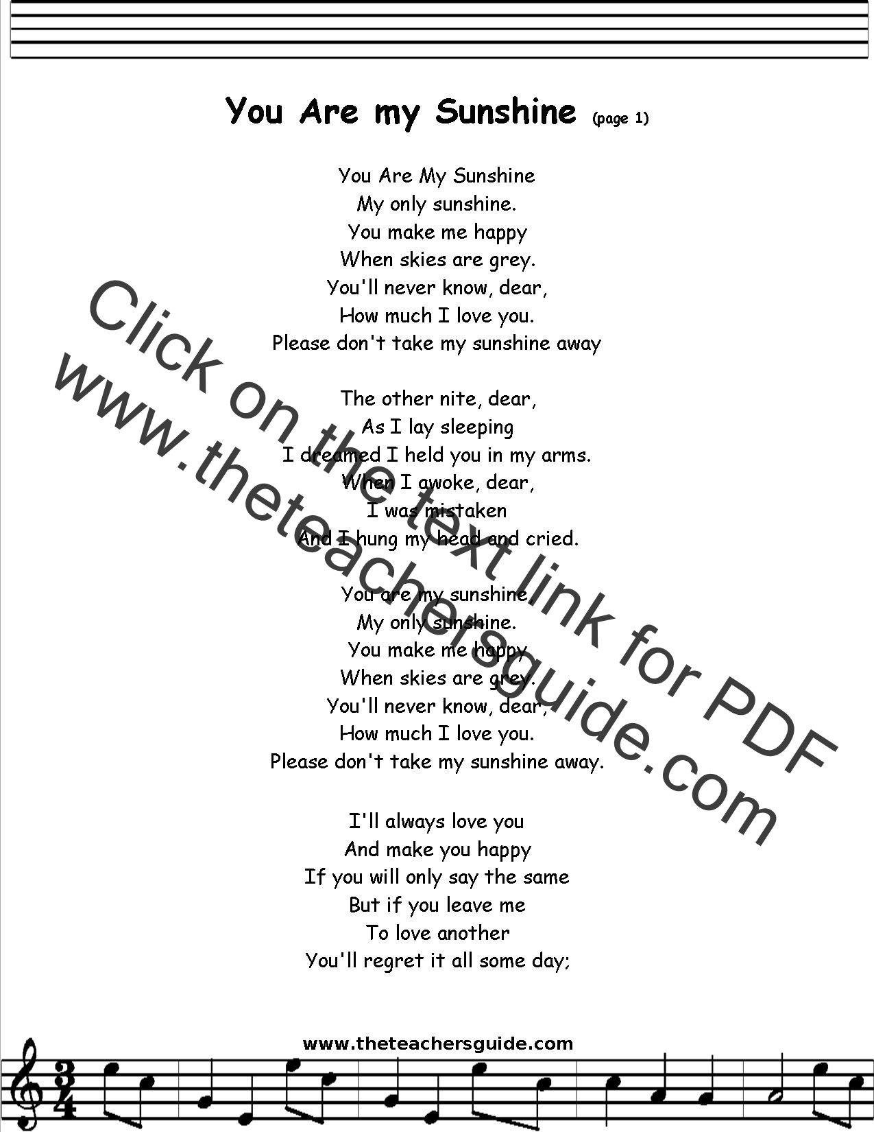 You Are My Sunshine Lyrics Printout Midi And Video
