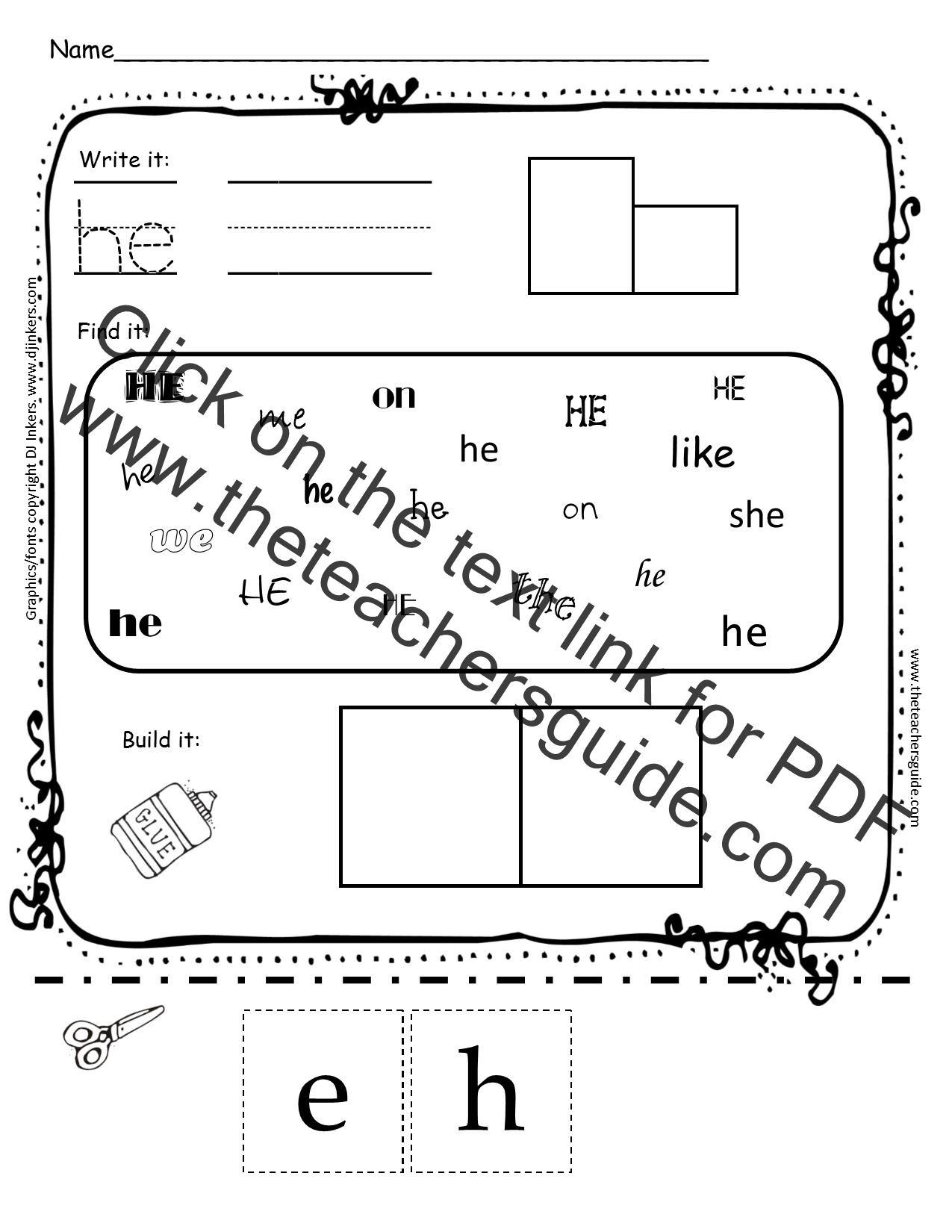 Kindergarten Sight Word Printouts From The Teacher S Guide