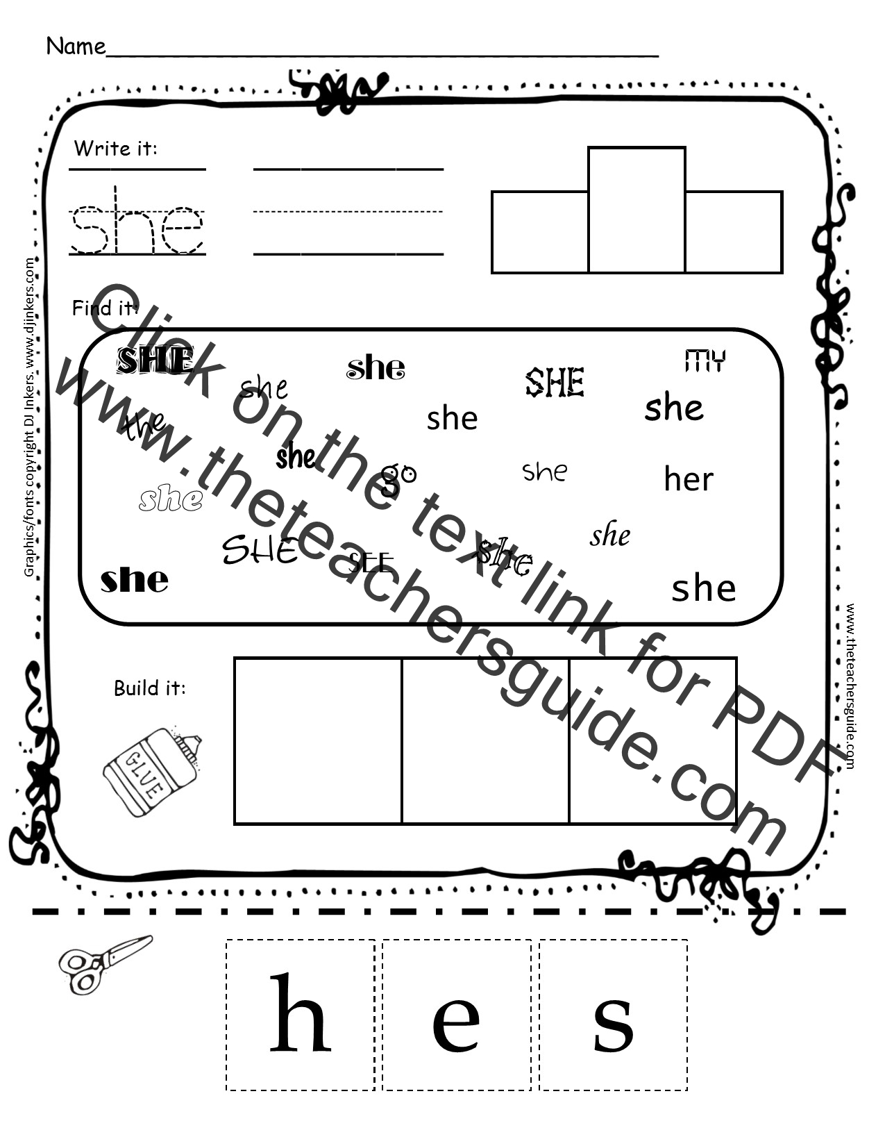 She Sight Word Worksheet Kindergarten She Best Free