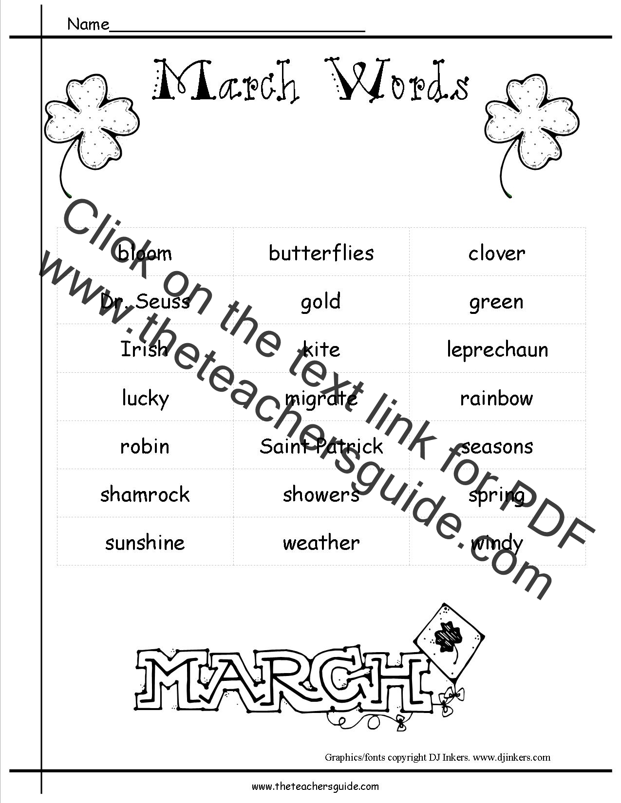 March Lesson Plans Themes Holidays And Printouts
