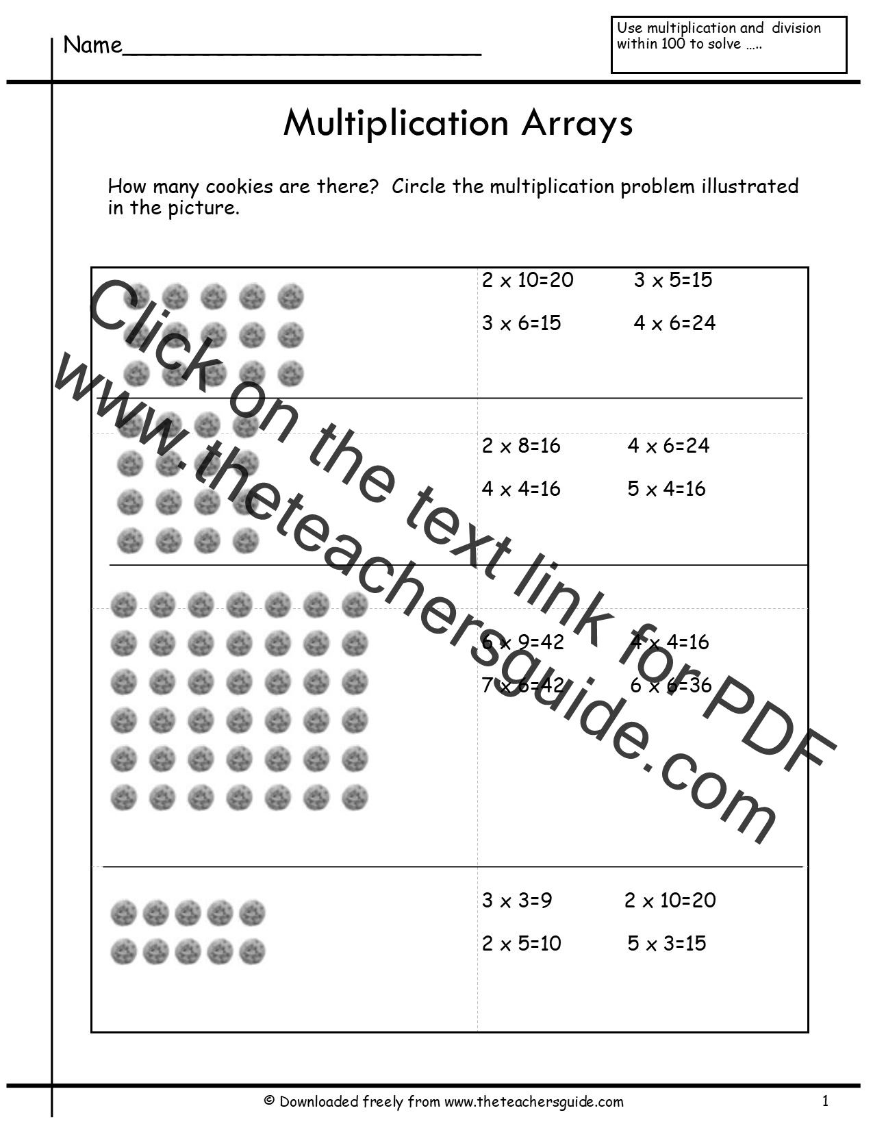 Multiplication Array Worksheets From The Teacher S Guide