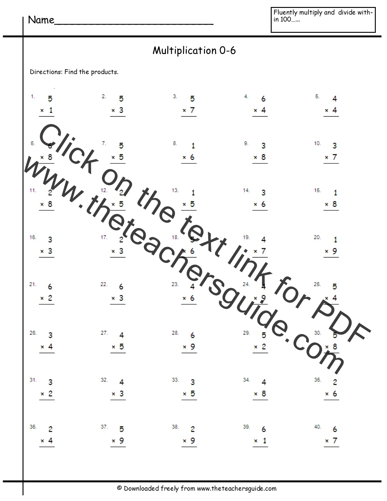 Multiplication Test 0 3