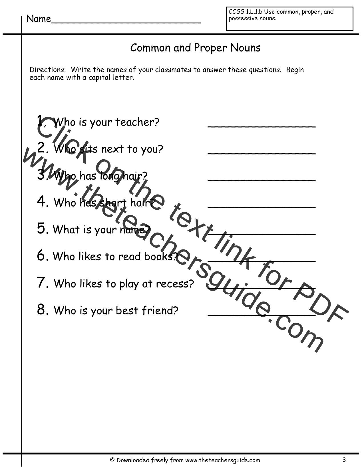 4th Grade Noun Worksheets