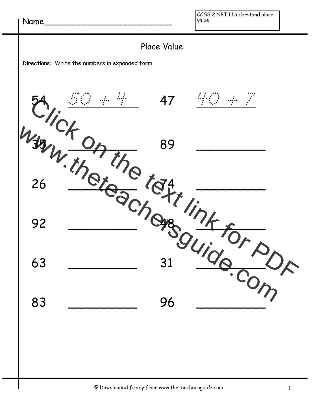 Printable Math Worksheet 2nd Grade Place Value