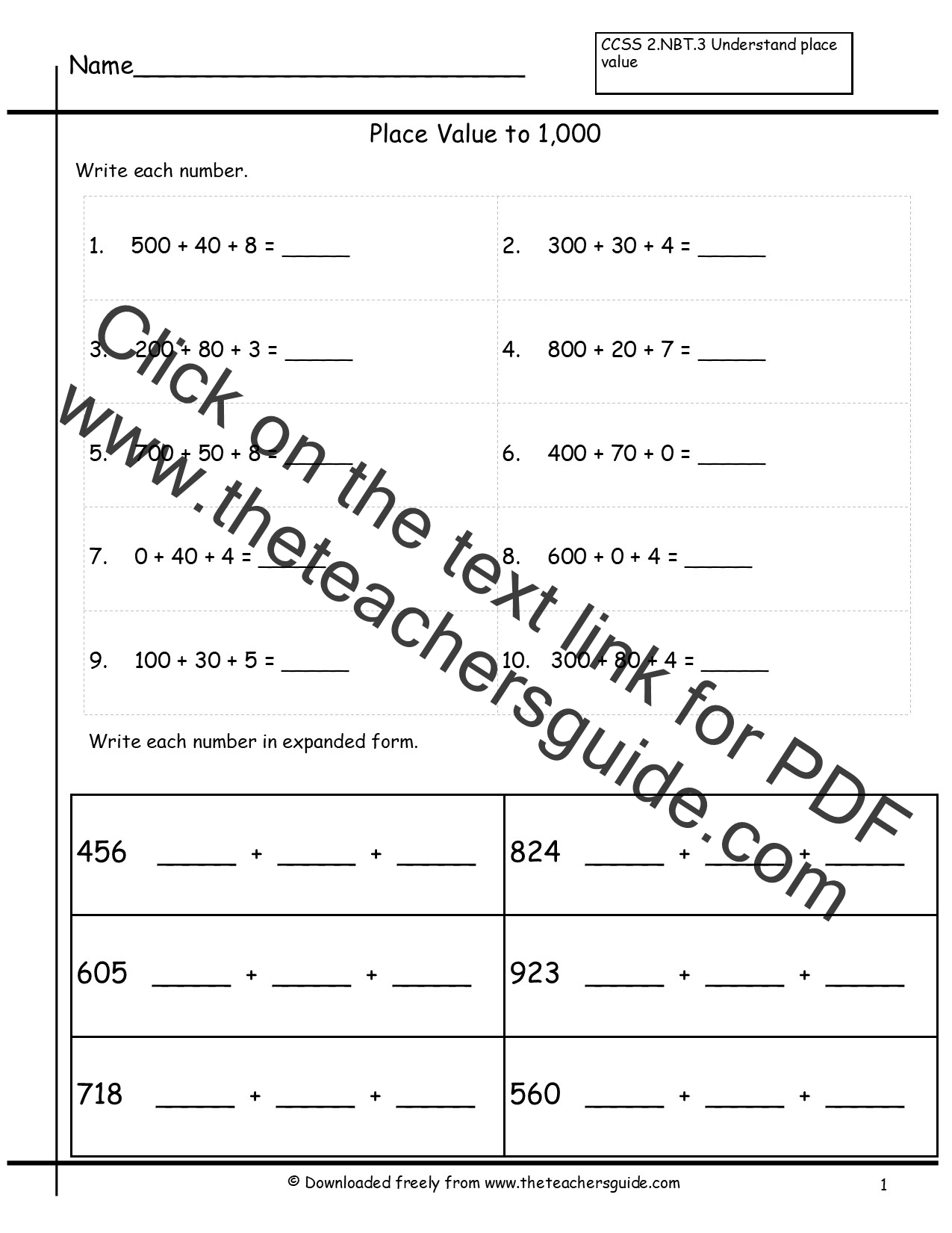34 Write In Expanded Form Worksheet