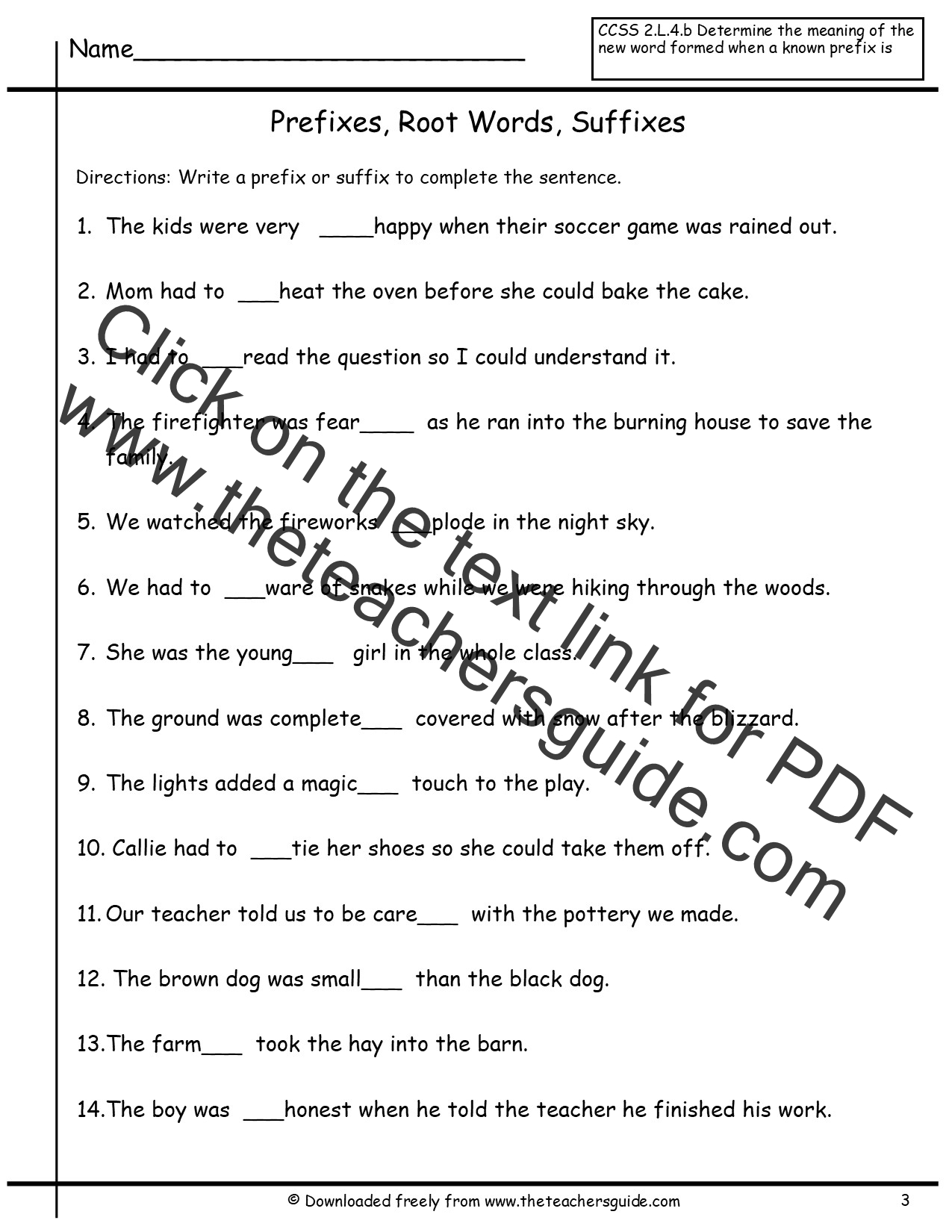 Prefix And Suffix Worksheet