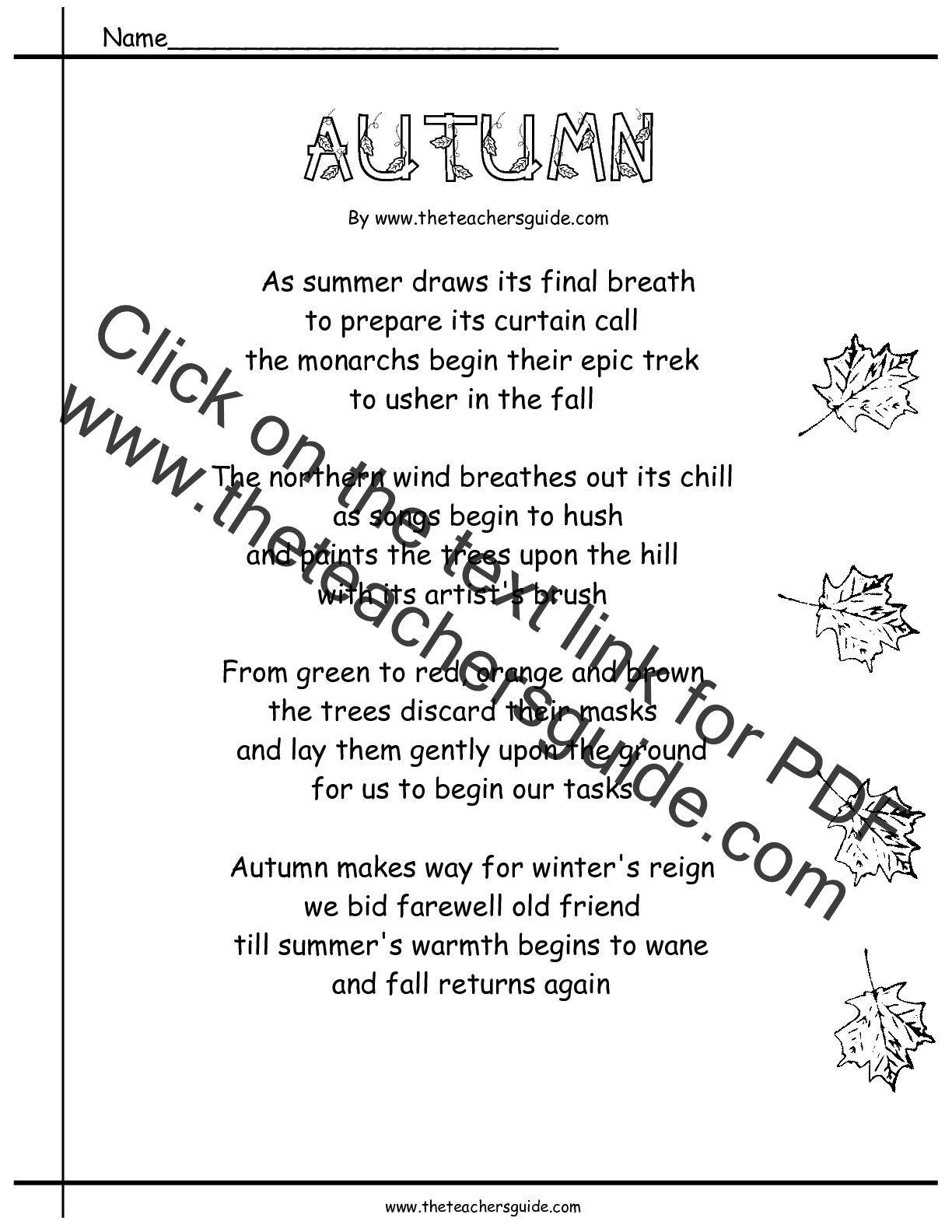 Poetry Comprehension Worksheets From The Teacher S Guide
