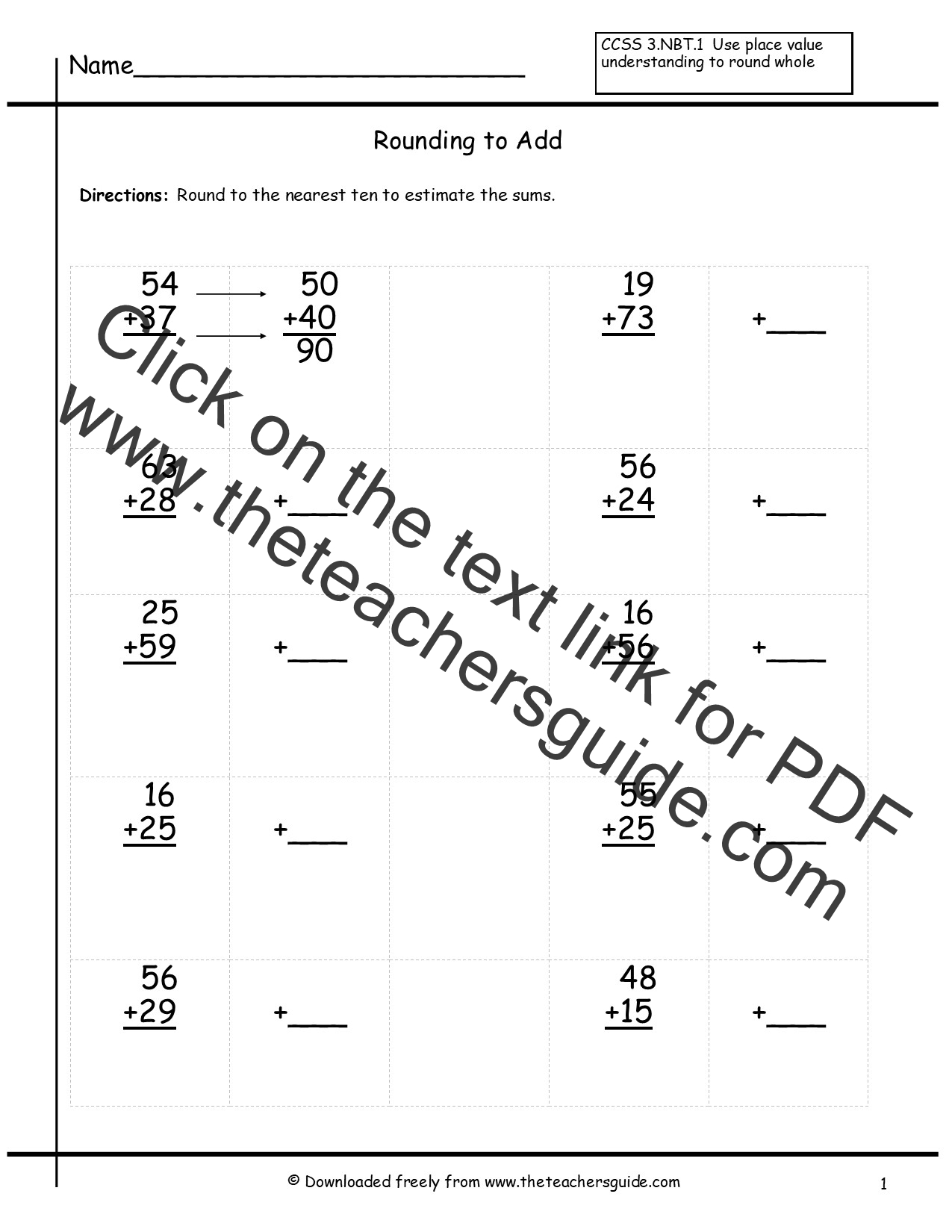 Rounding Whole Numbers Worksheets From The Teacher S Guide