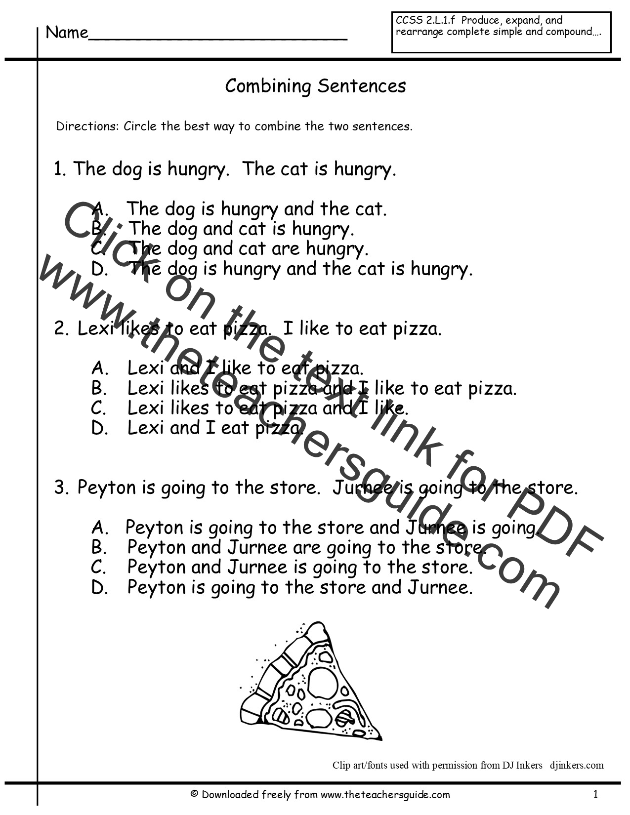 Sentences Worksheets From The Teacher S Guide