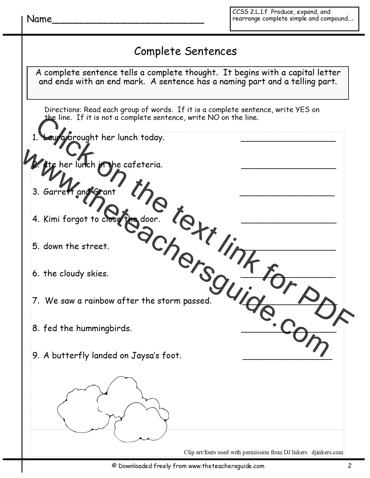 Kindergarten Sentence Worksheet Grade