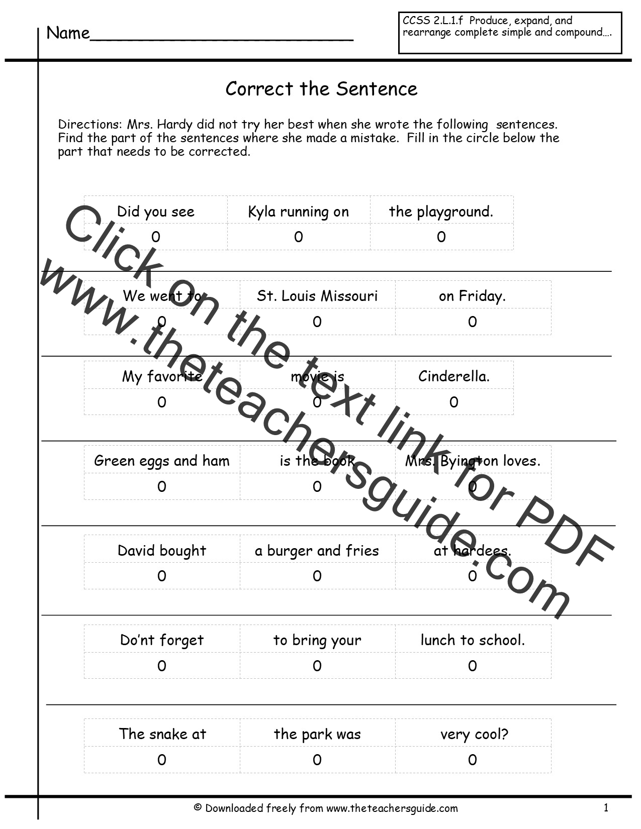 Revising Sentences Worksheet
