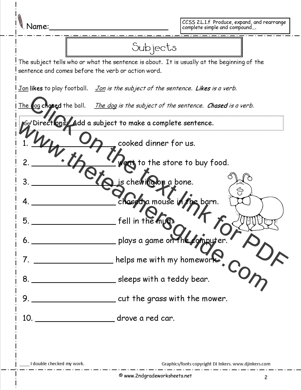 Subject And Predicate Worksheet