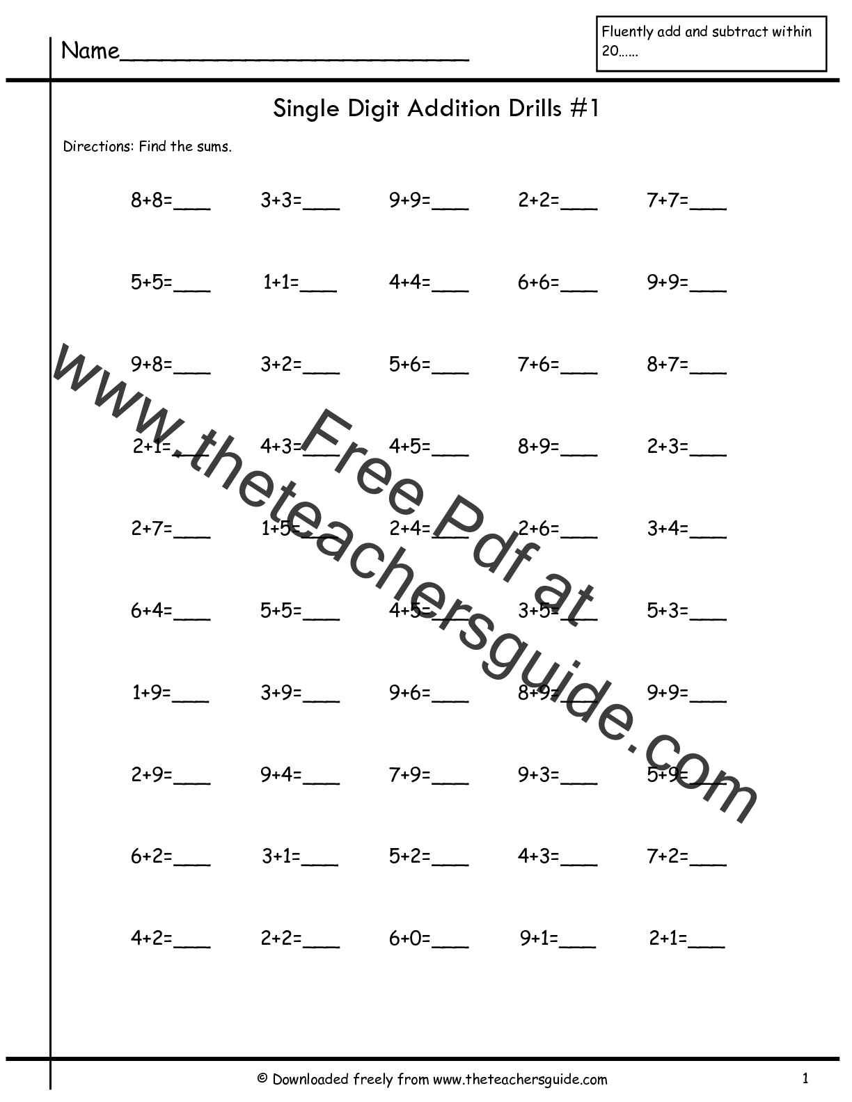 Addition Fact Fluency Worksheets