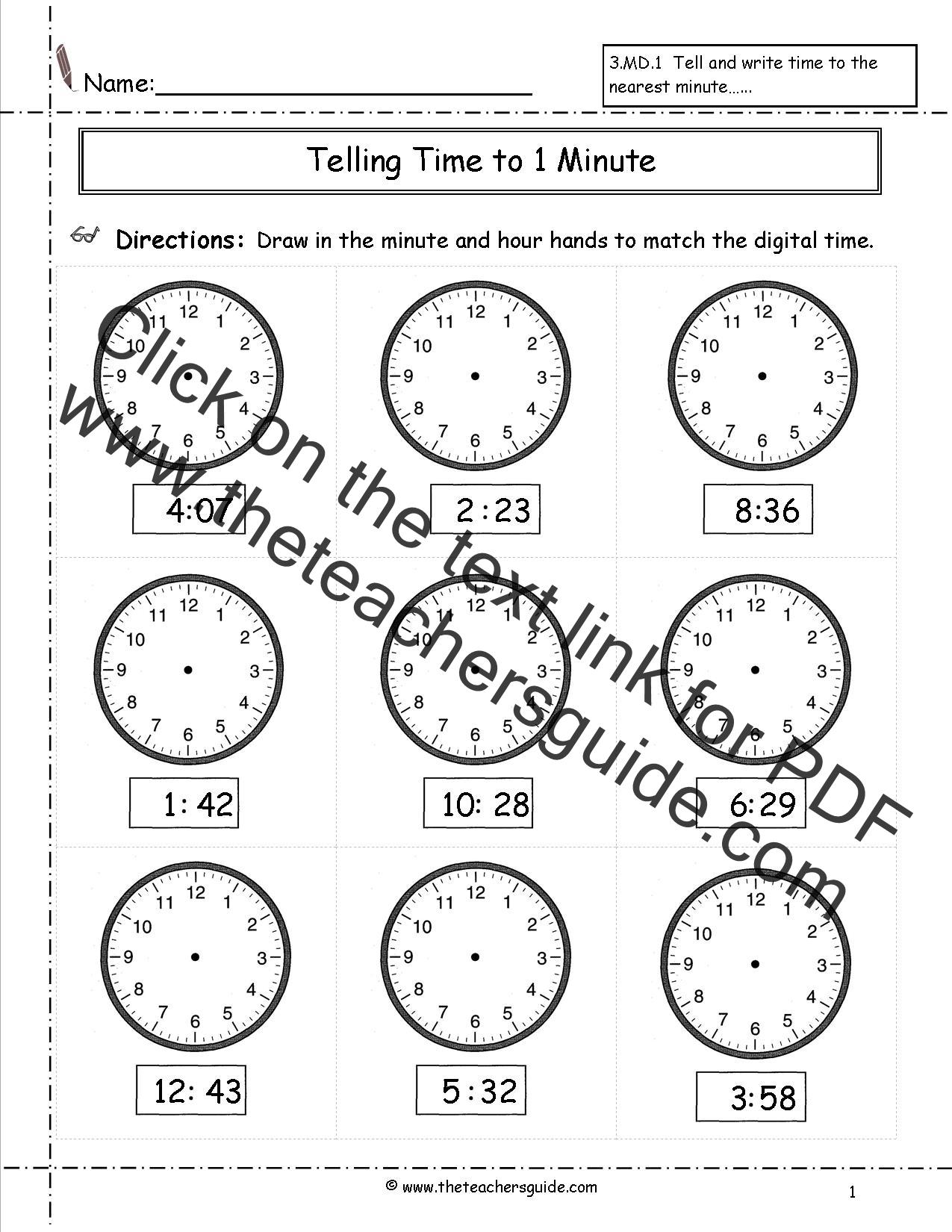 Worksheet For Kindergarten Clock