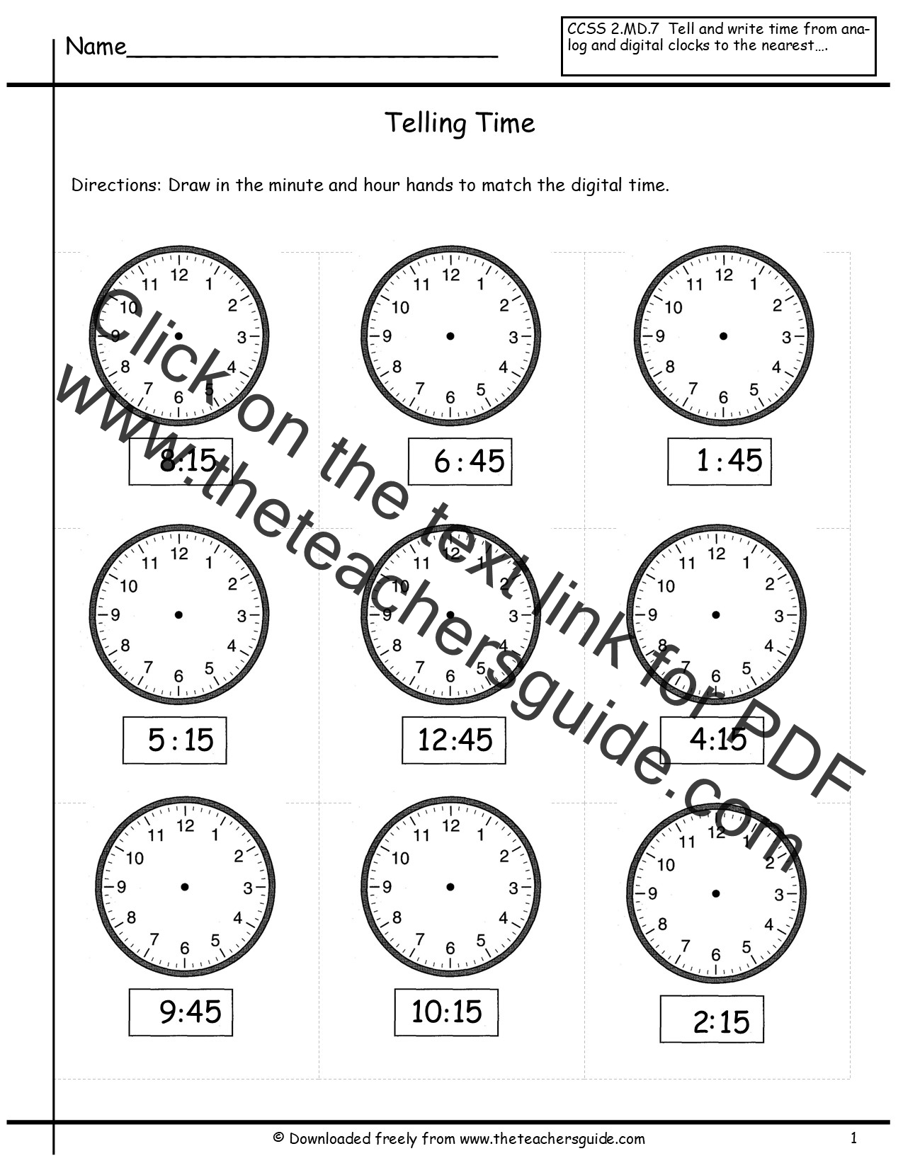 Telling Time To The Nearest Quarter Hour Worksheets