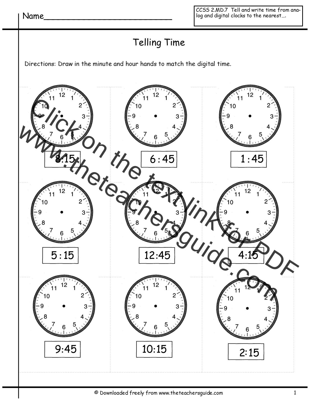 Time Worksheet November