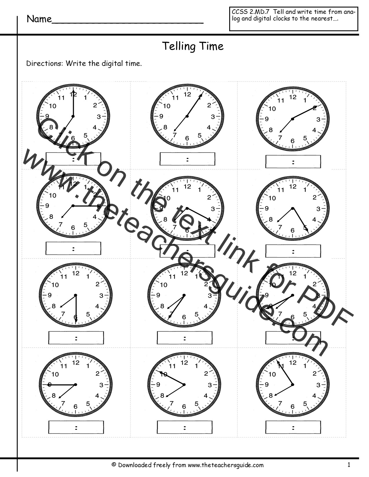 Telling Time Worksheet Free
