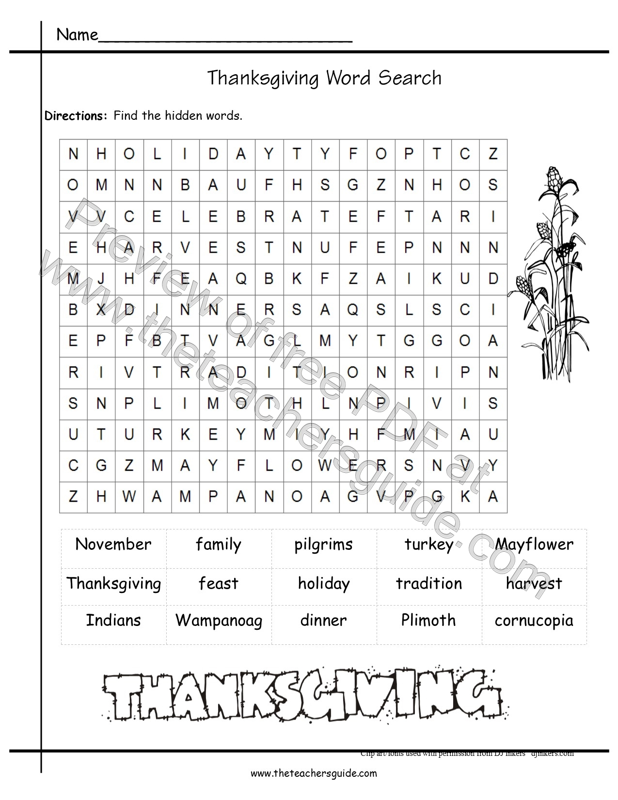 Thanksgiving Printouts From The Teacher S Guide