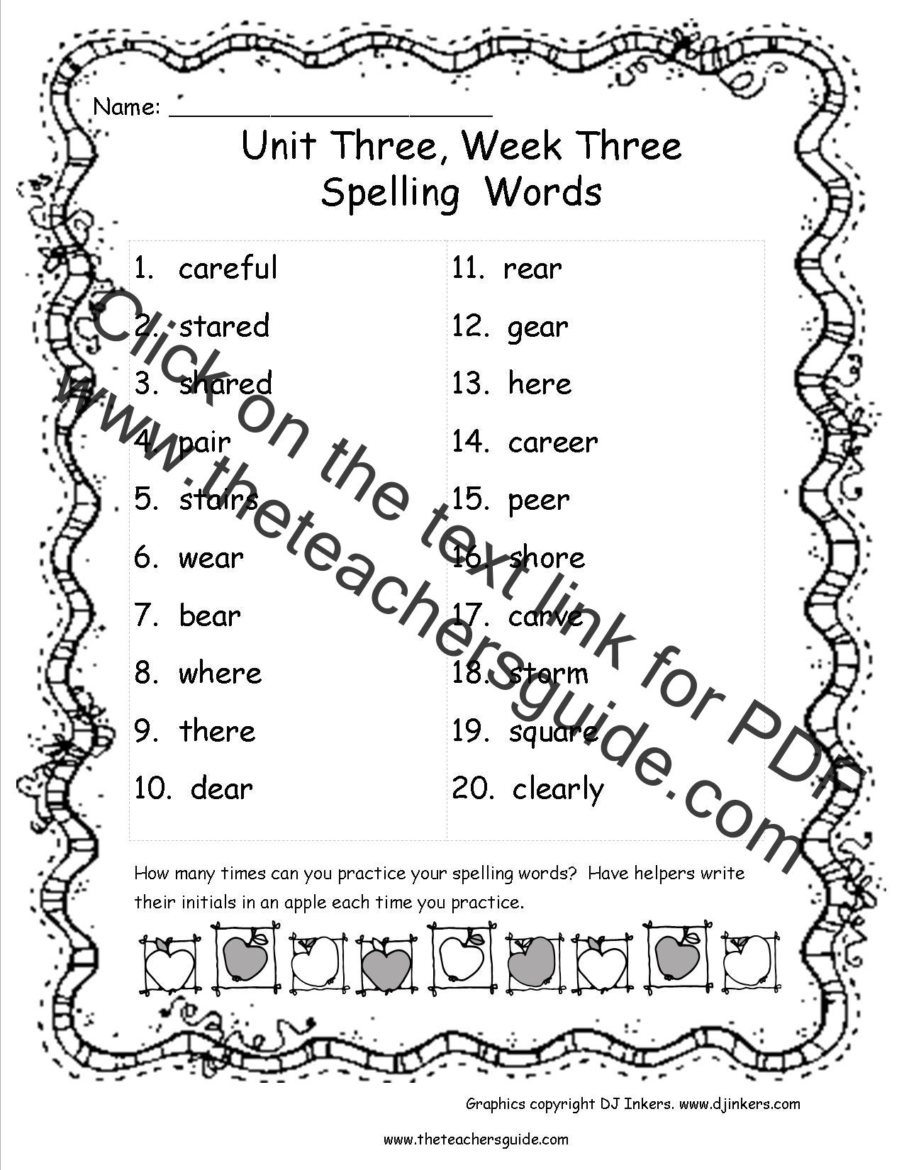 Wonders Third Grade Unit Three Week Three Printouts
