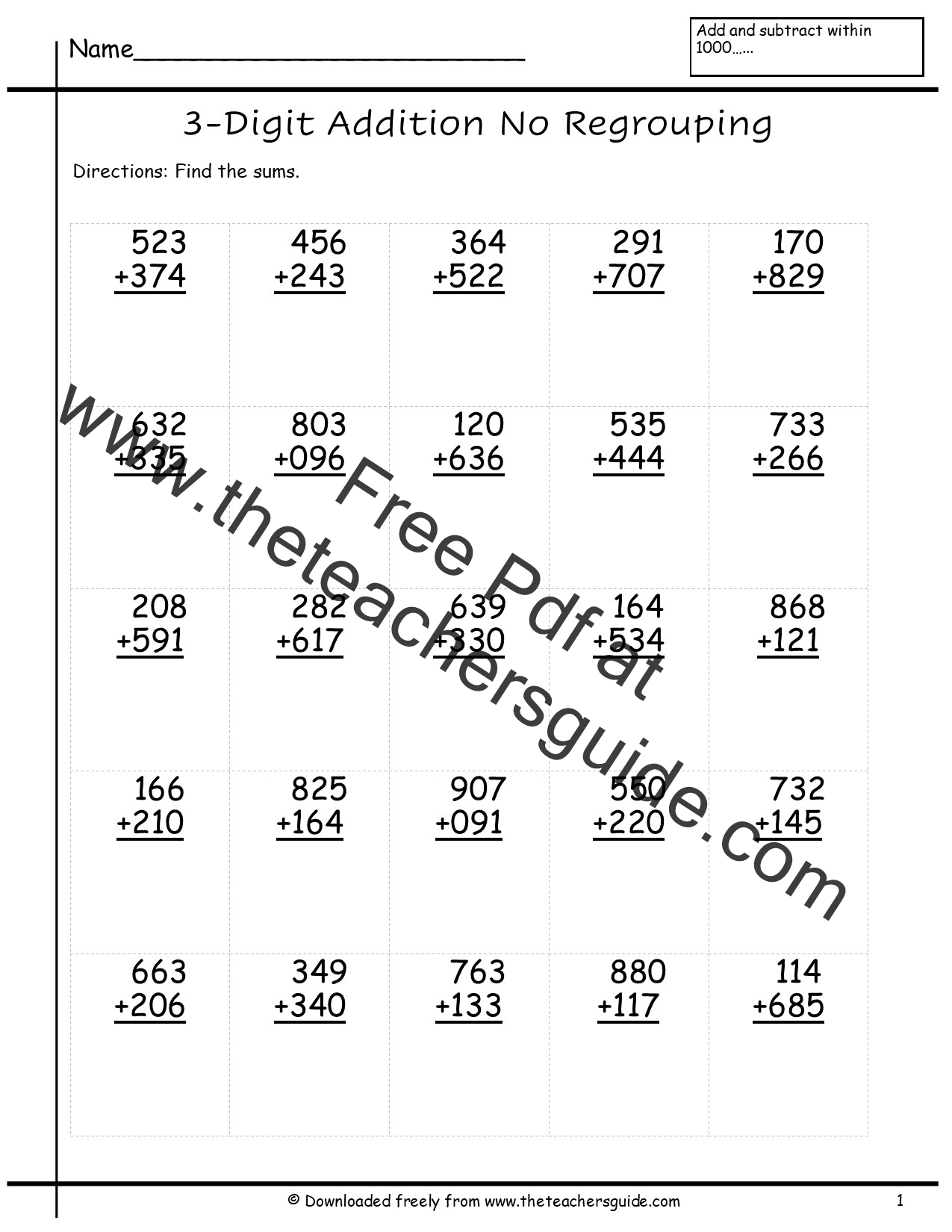 Three Digit Addition Worksheets From The Teacher S Guide