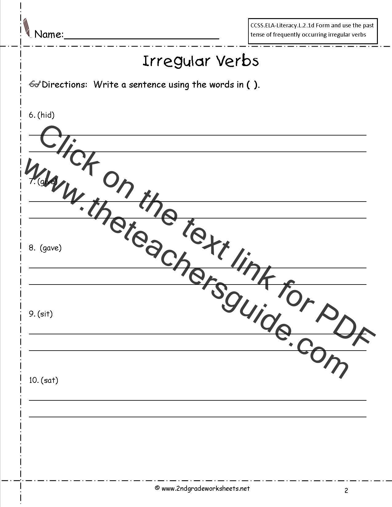 Verb Worksheet Second Grade C Verb Best Free Printable