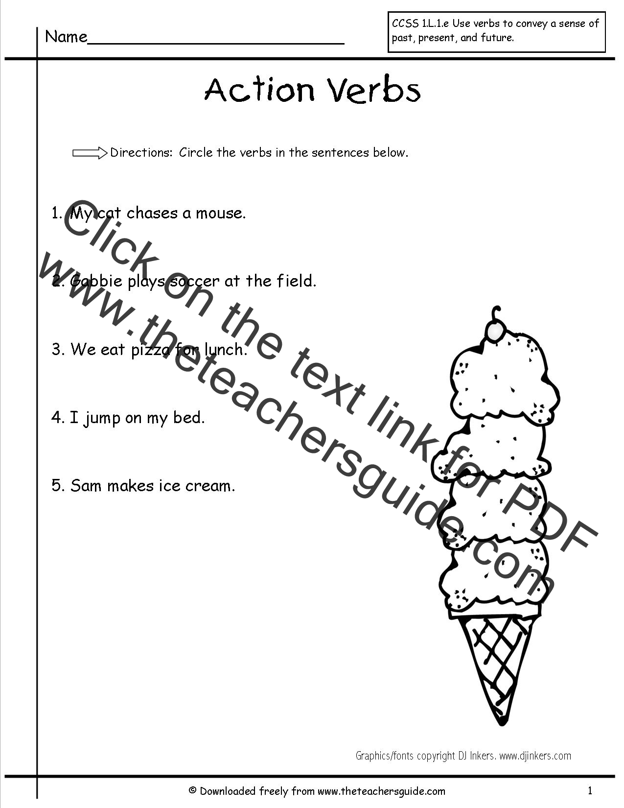 Action Verb Worksheets 1st Grade